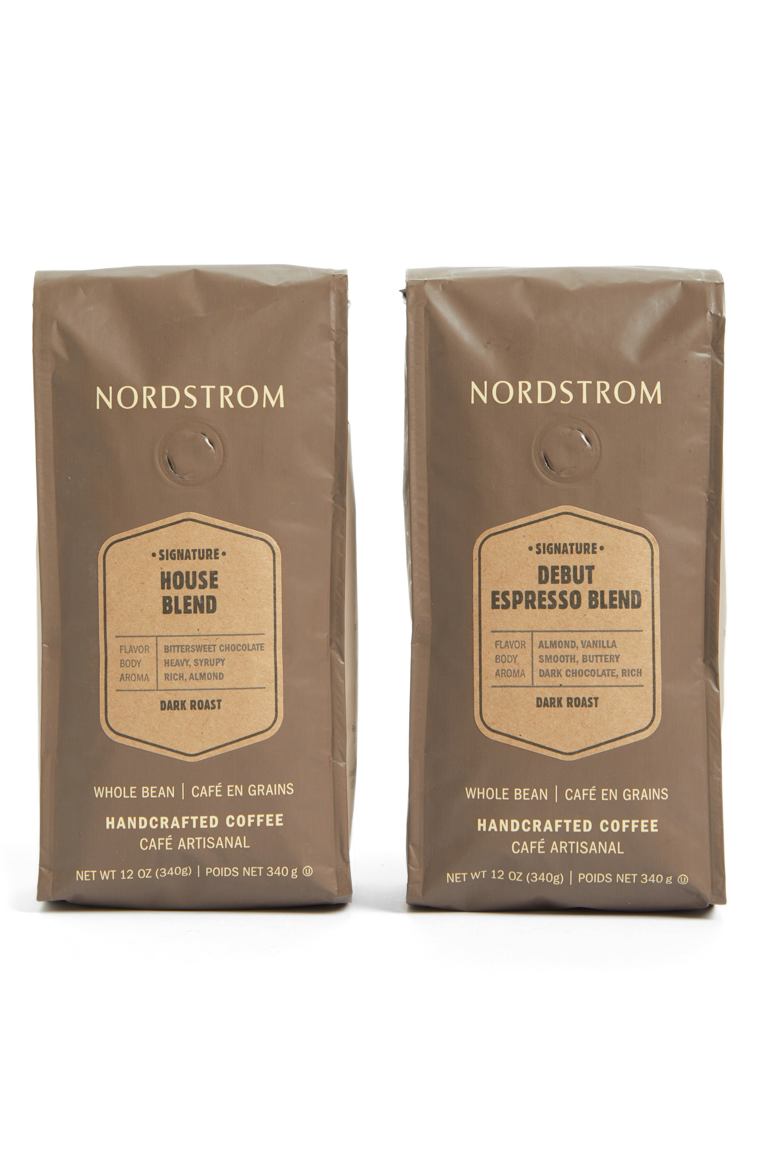 Main Image - Nordstrom Coffee 'Debut Espresso Blend' & 'House Blend' Whole Bean Coffee (2-Pack)