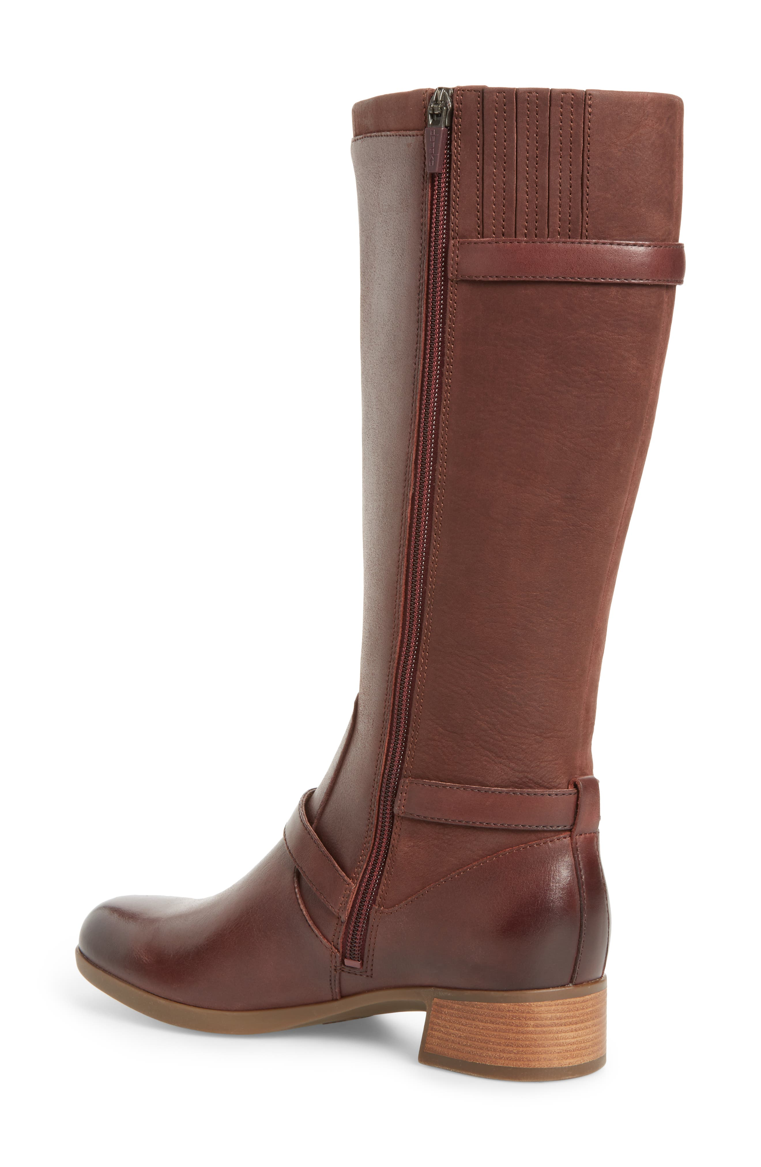 Lorna Tall Boot,                             Alternate thumbnail 2, color,                             Wine Burnished Nappa Leather