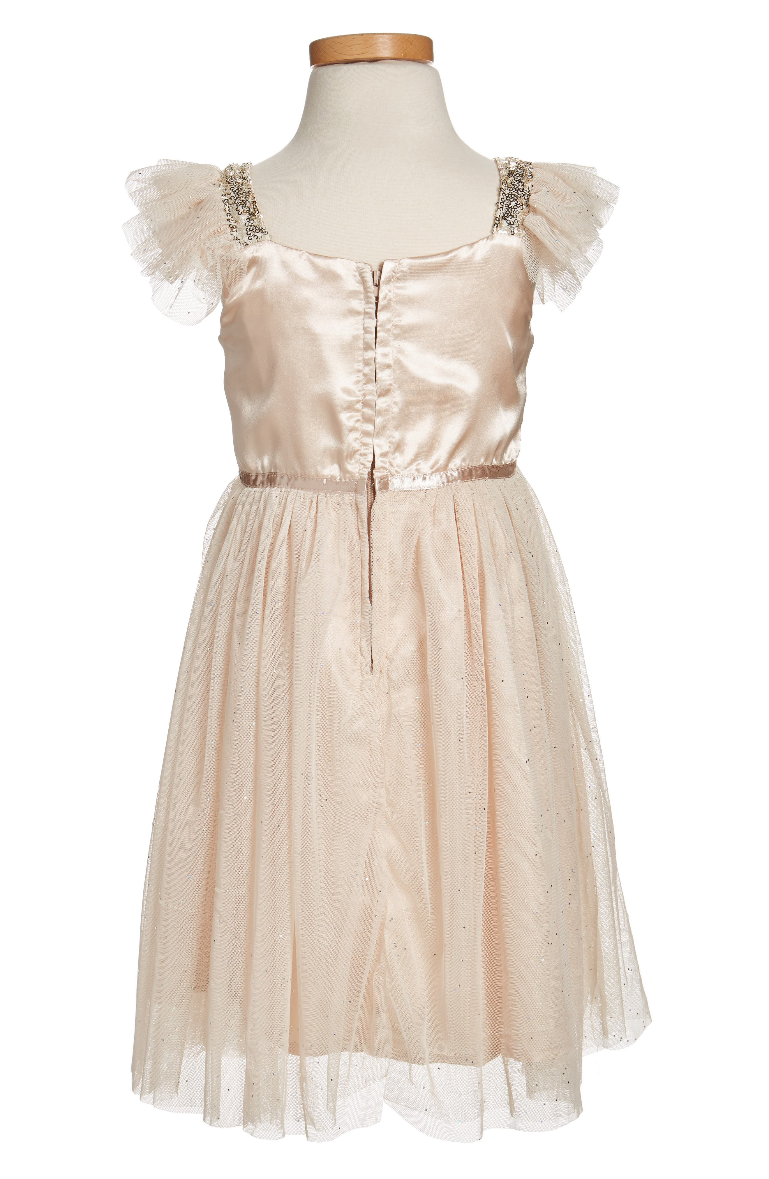 Sequin Bodice Tulle Dress,                             Alternate thumbnail 2, color,                             Ivory/ Gold