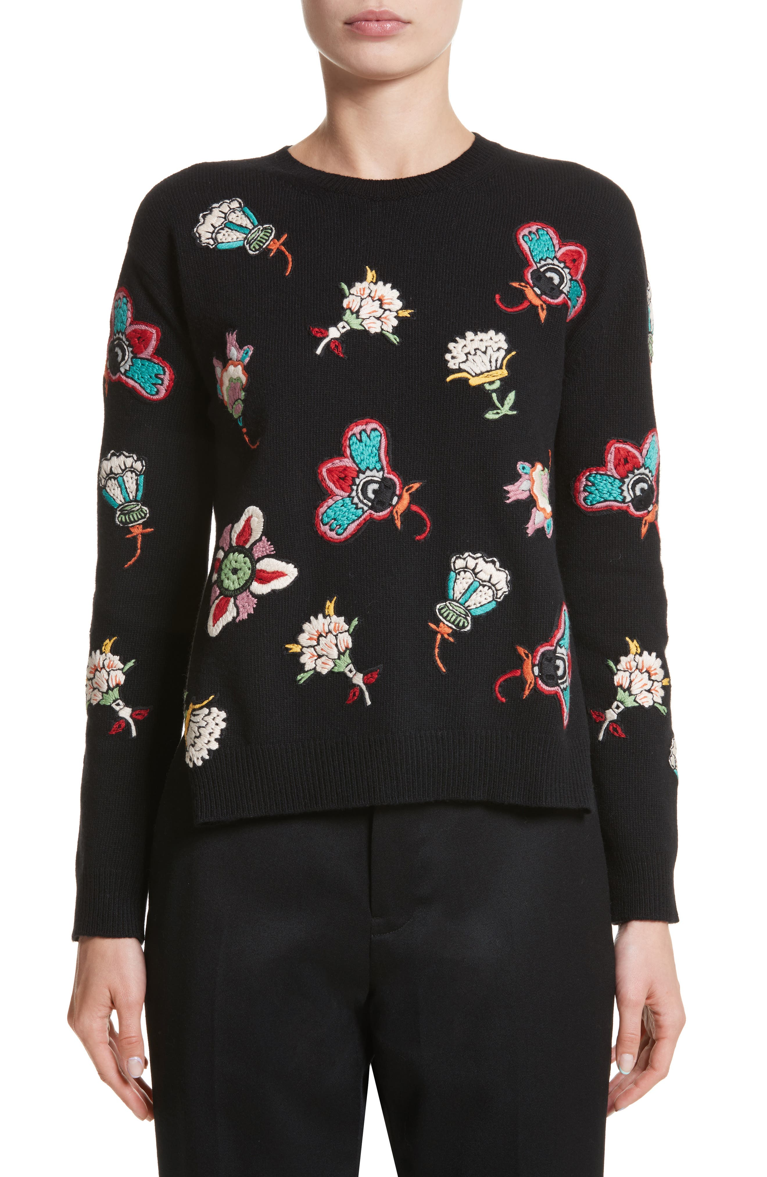 Floral Embroidered Wool Sweater,                             Main thumbnail 1, color,                             Black