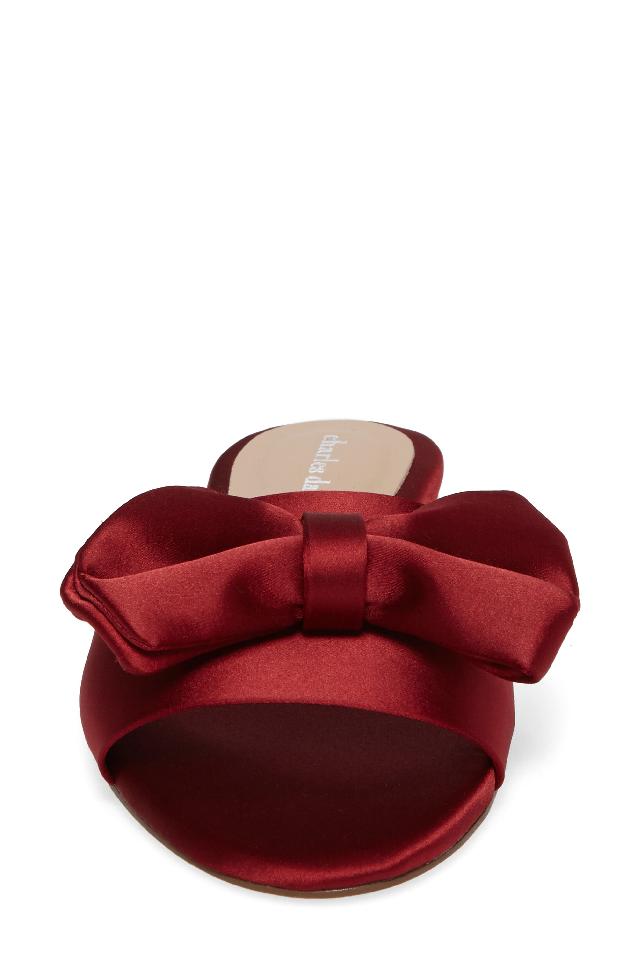 Bow Slide Sandal,                             Alternate thumbnail 4, color,                             Burgundy Satin