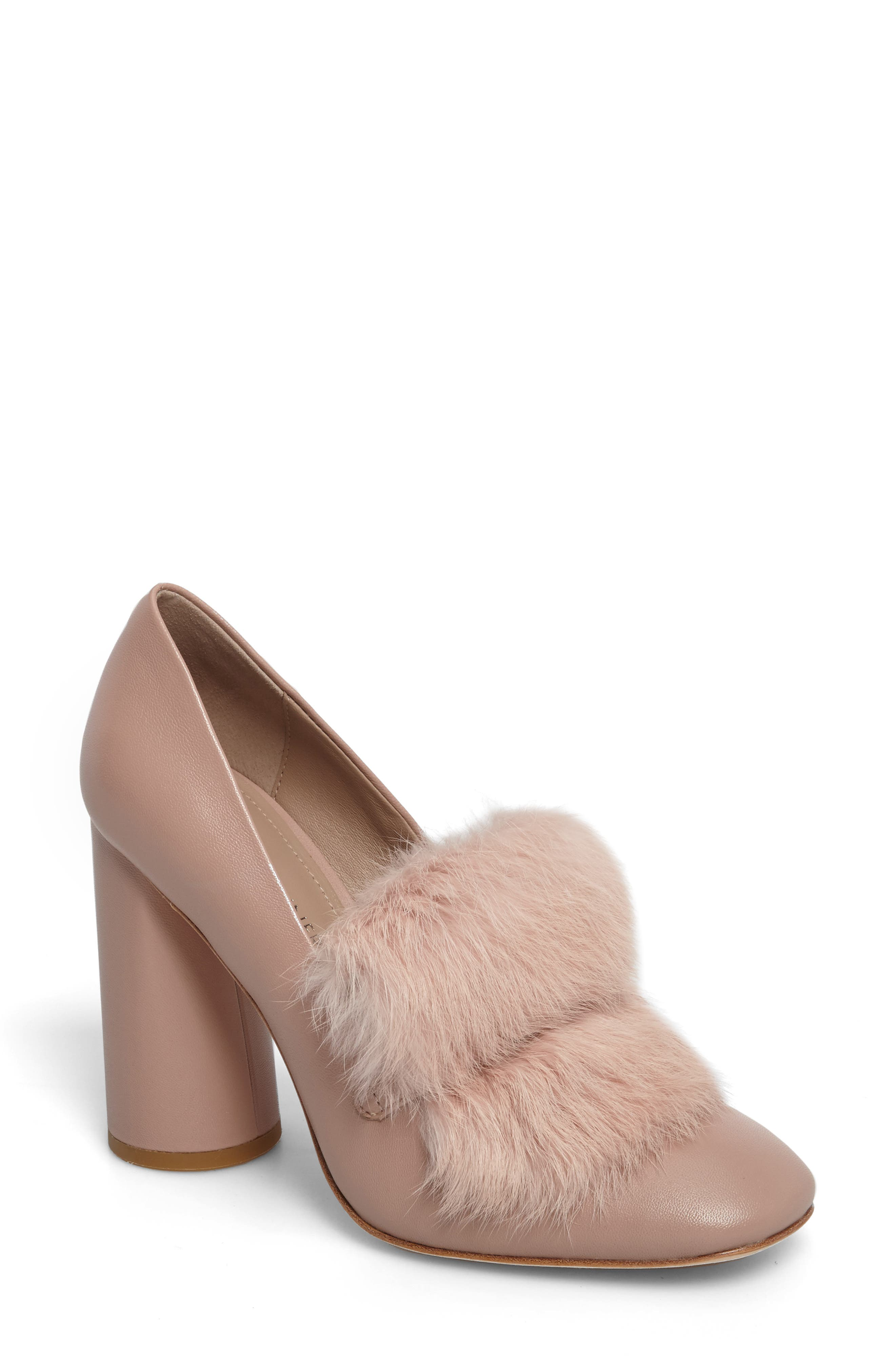 Donald J Pliner Faune Genuine Rabbit Fur Pump (Women)