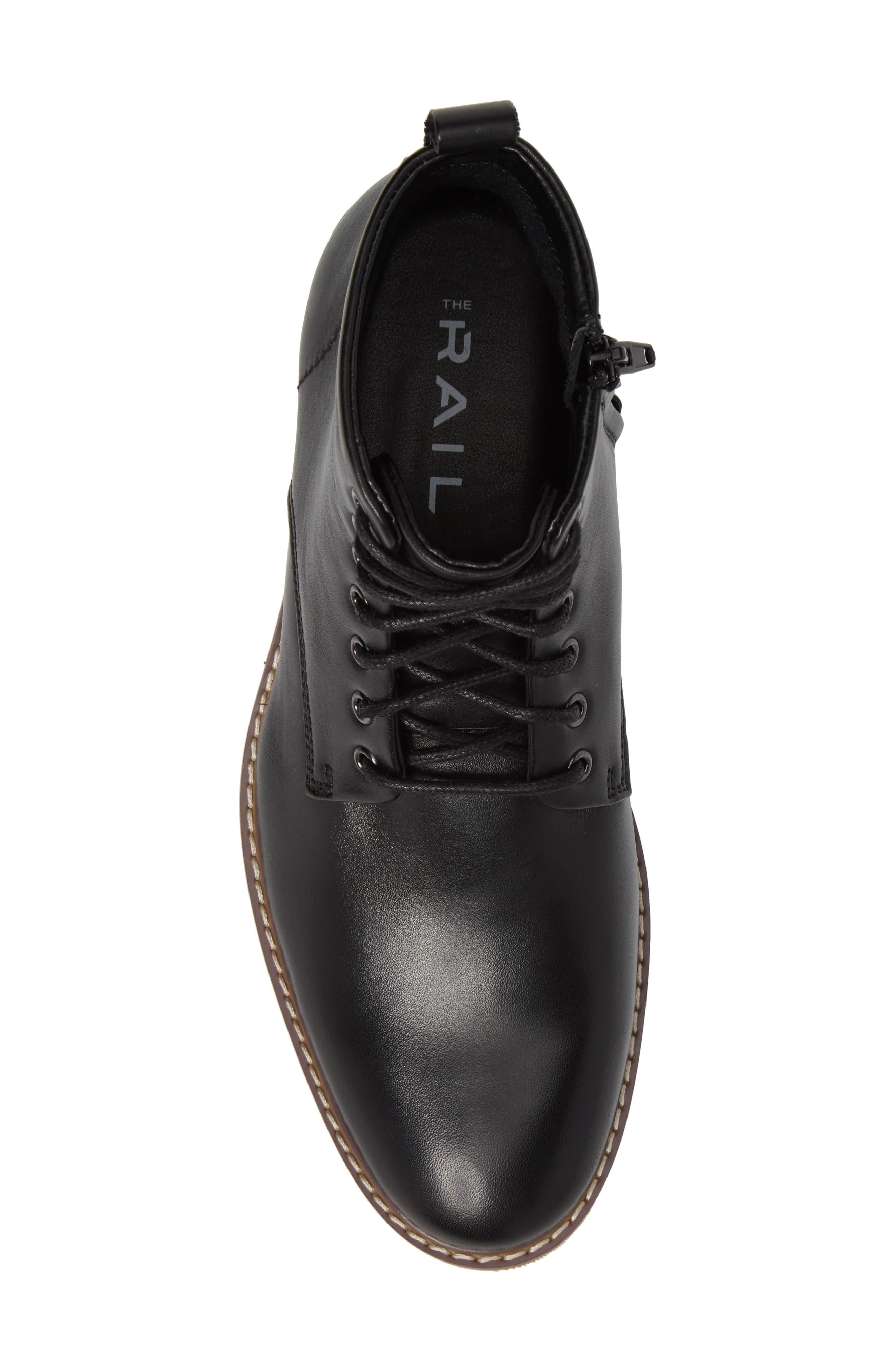 Albany Plain Toe Boot,                             Alternate thumbnail 4, color,                             Black Leather