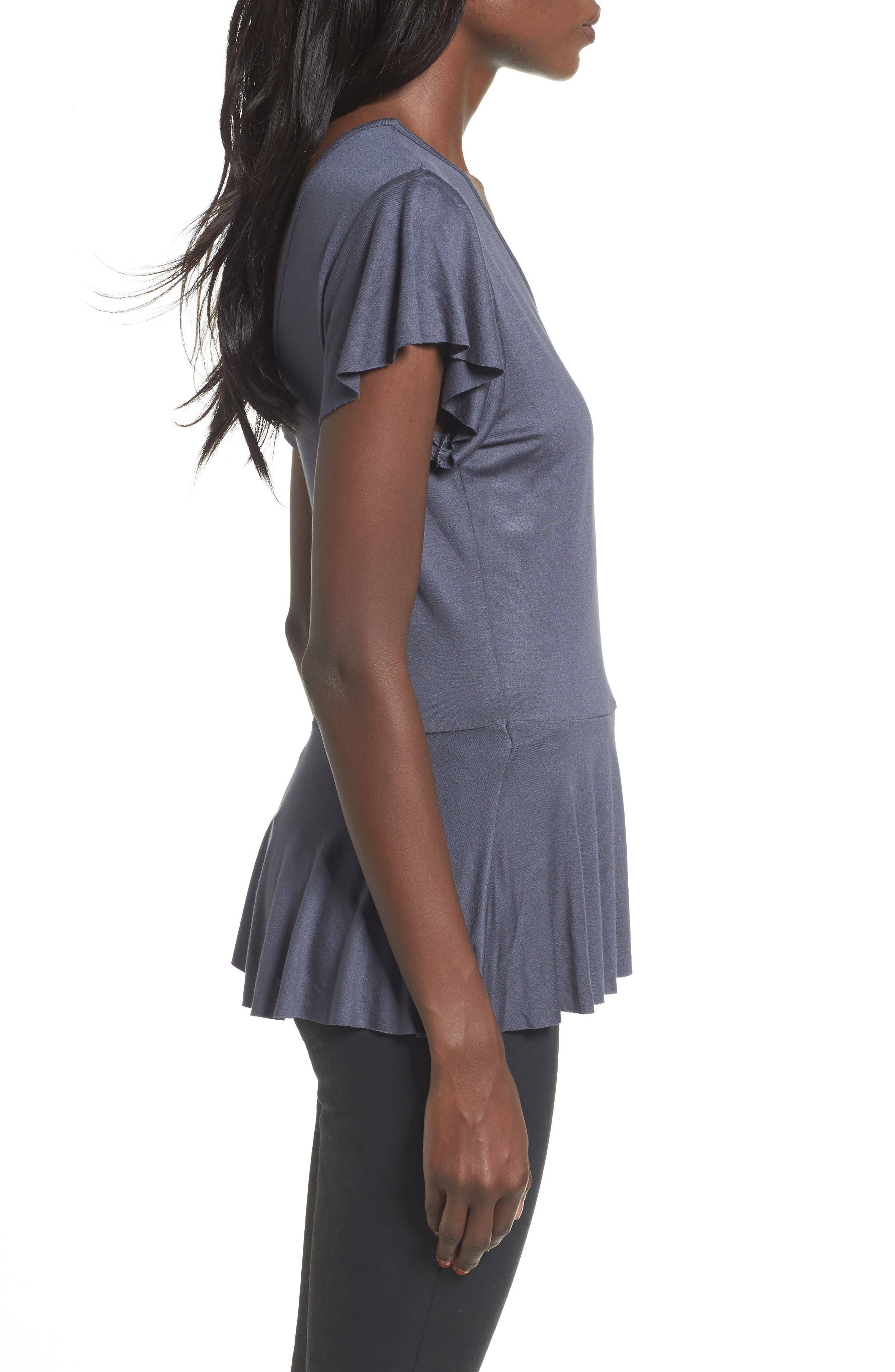 Ruffle Wrap Top,                             Alternate thumbnail 3, color,                             Navy India Ink