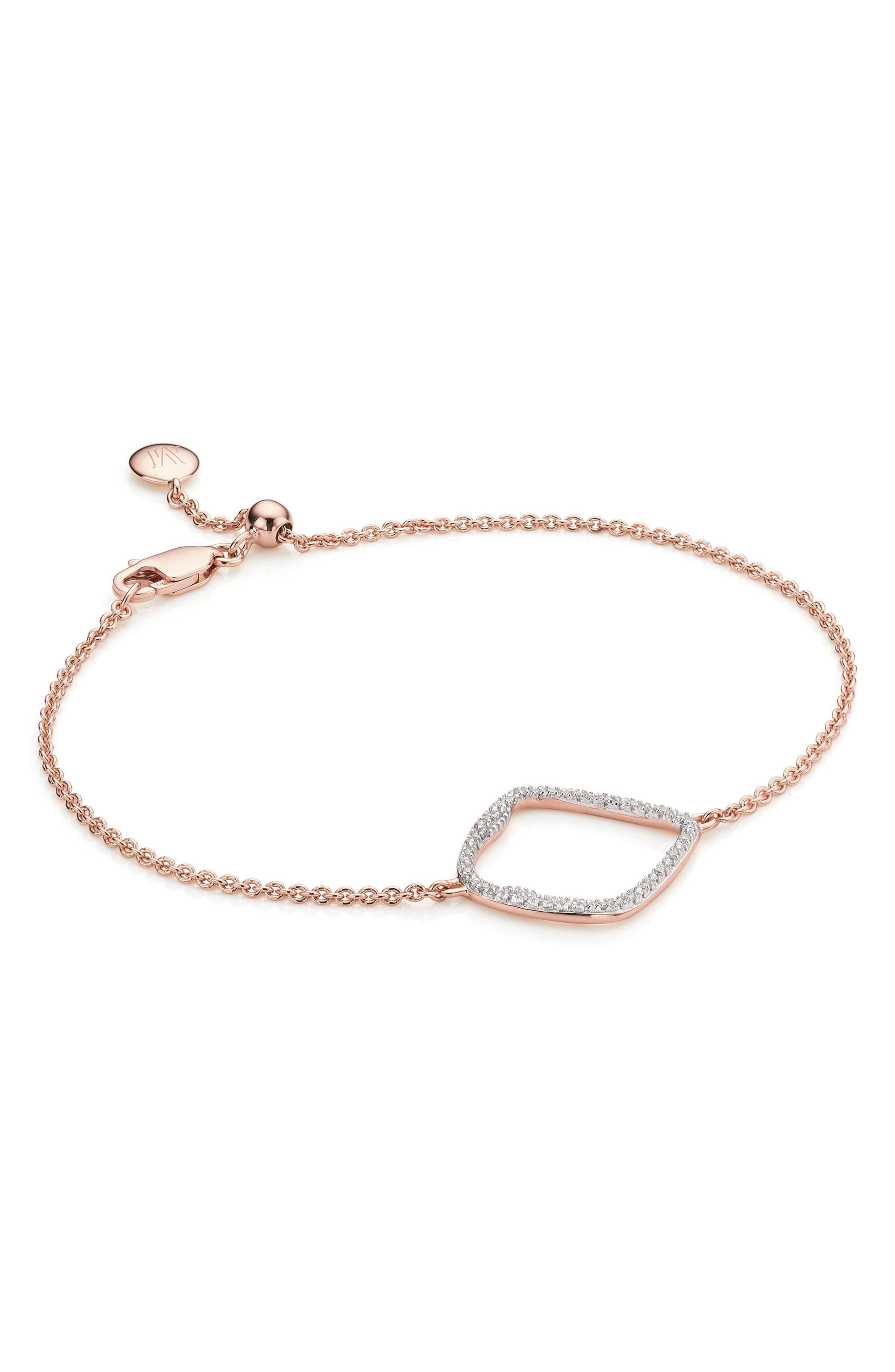 Riva Large Hoop Diamond Bracelet,                             Main thumbnail 1, color,                             Rose Gold
