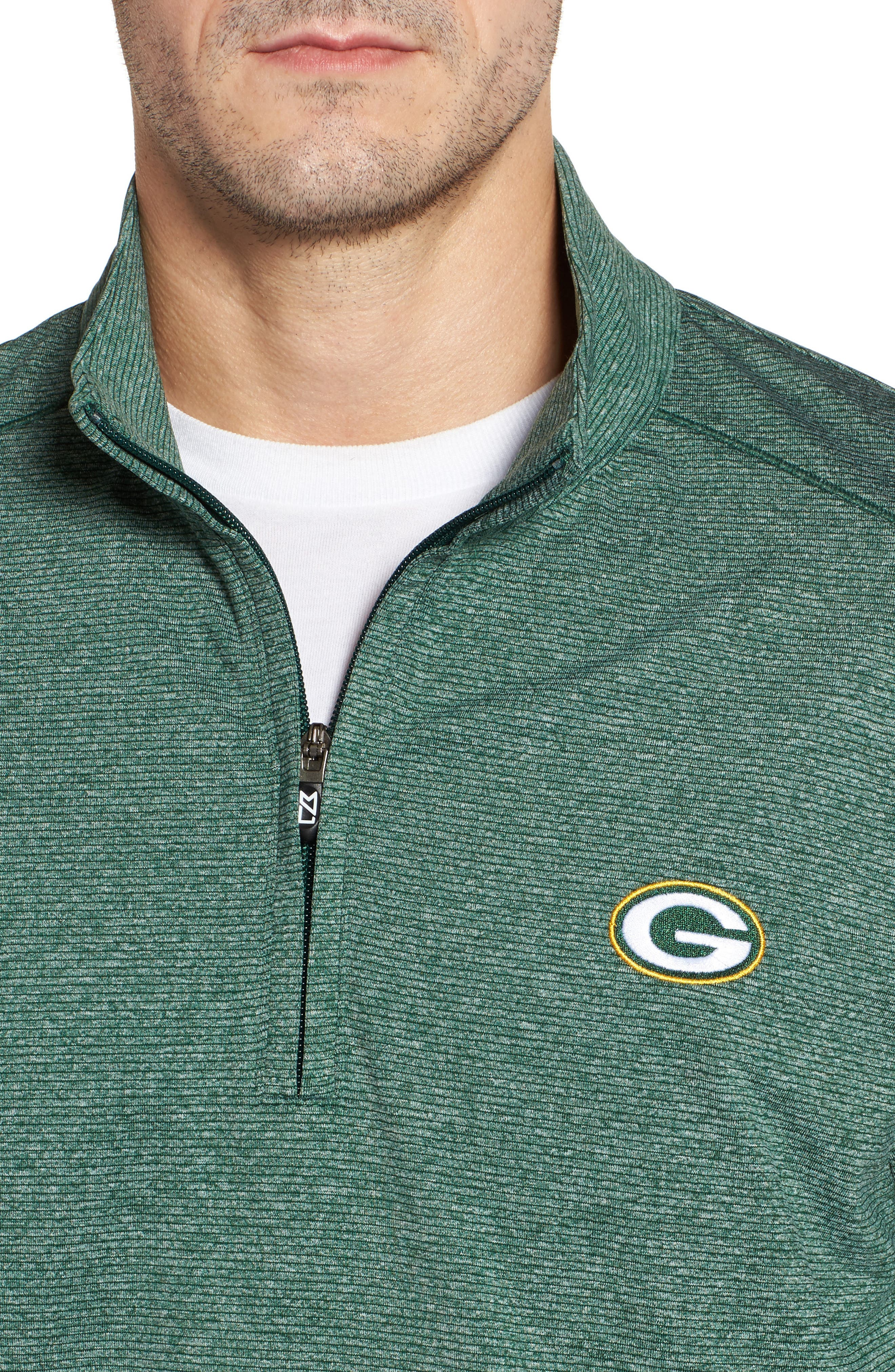 Shoreline - Green Bay Packers Half Zip Pullover,                             Alternate thumbnail 4, color,                             Hunter Heather