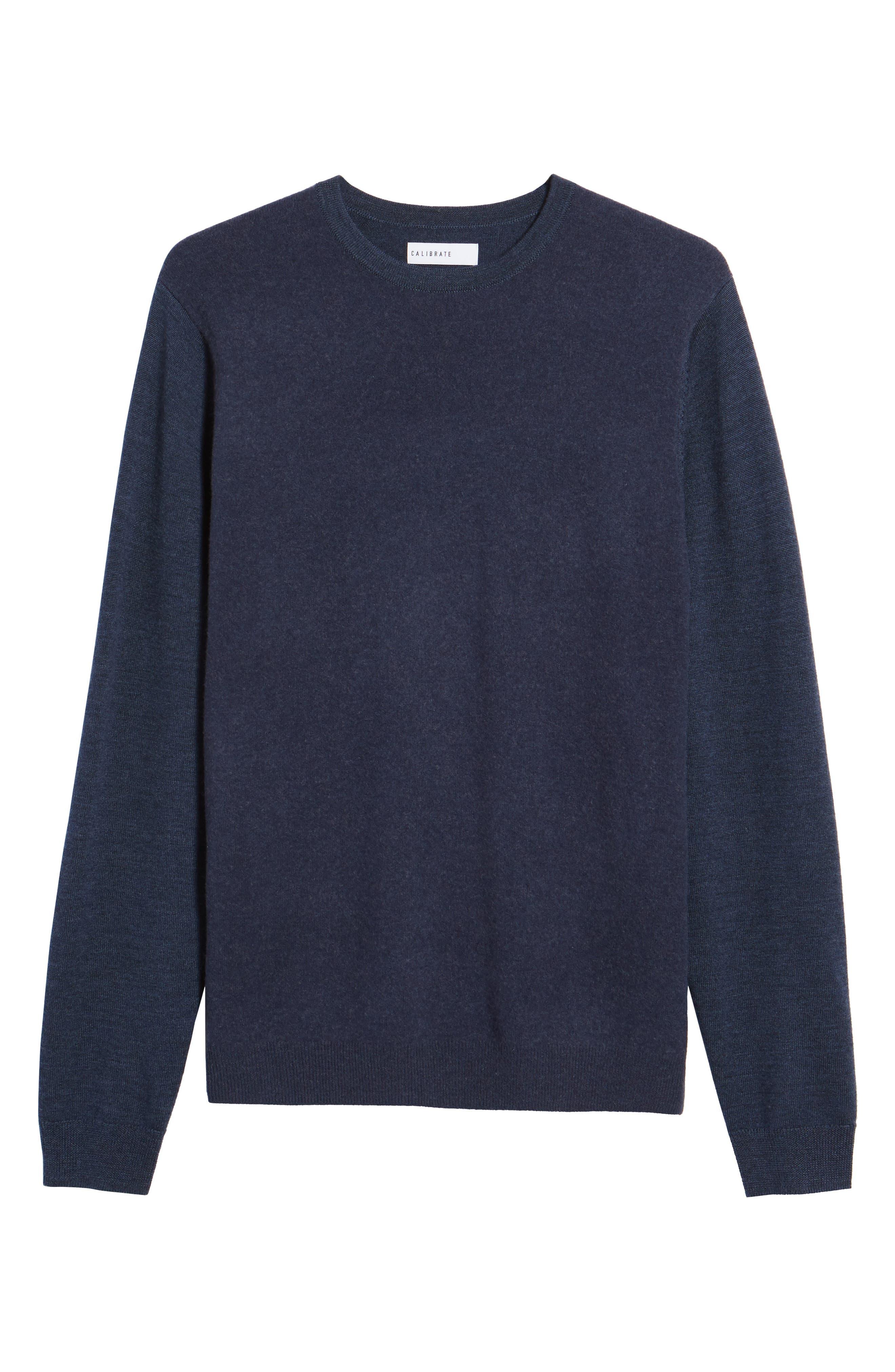 Merino Wool Blend Sweater,                             Alternate thumbnail 6, color,                             Navy Iris
