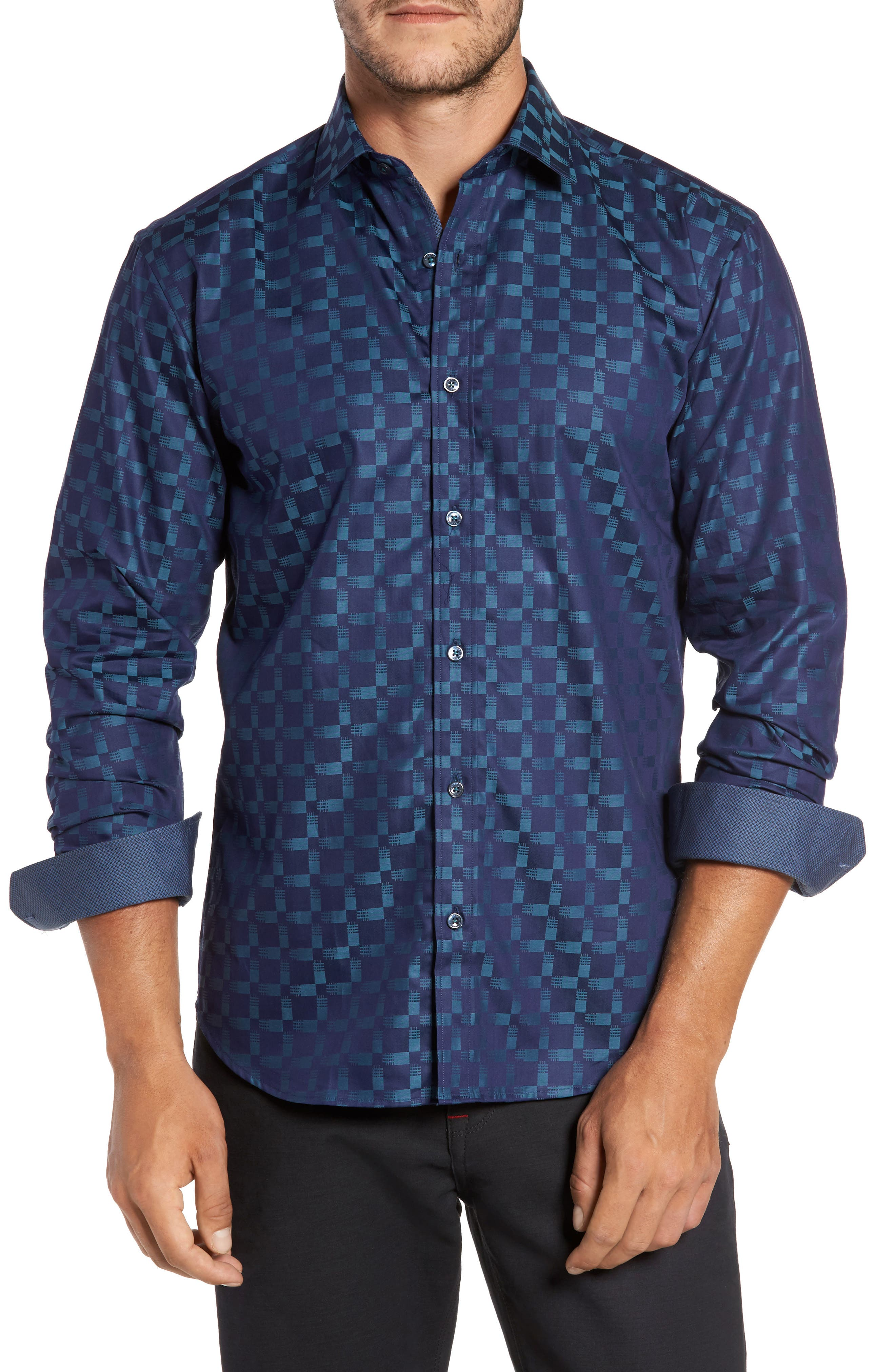 Shaped Fit Print Sport Shirt,                             Main thumbnail 1, color,                             Navy