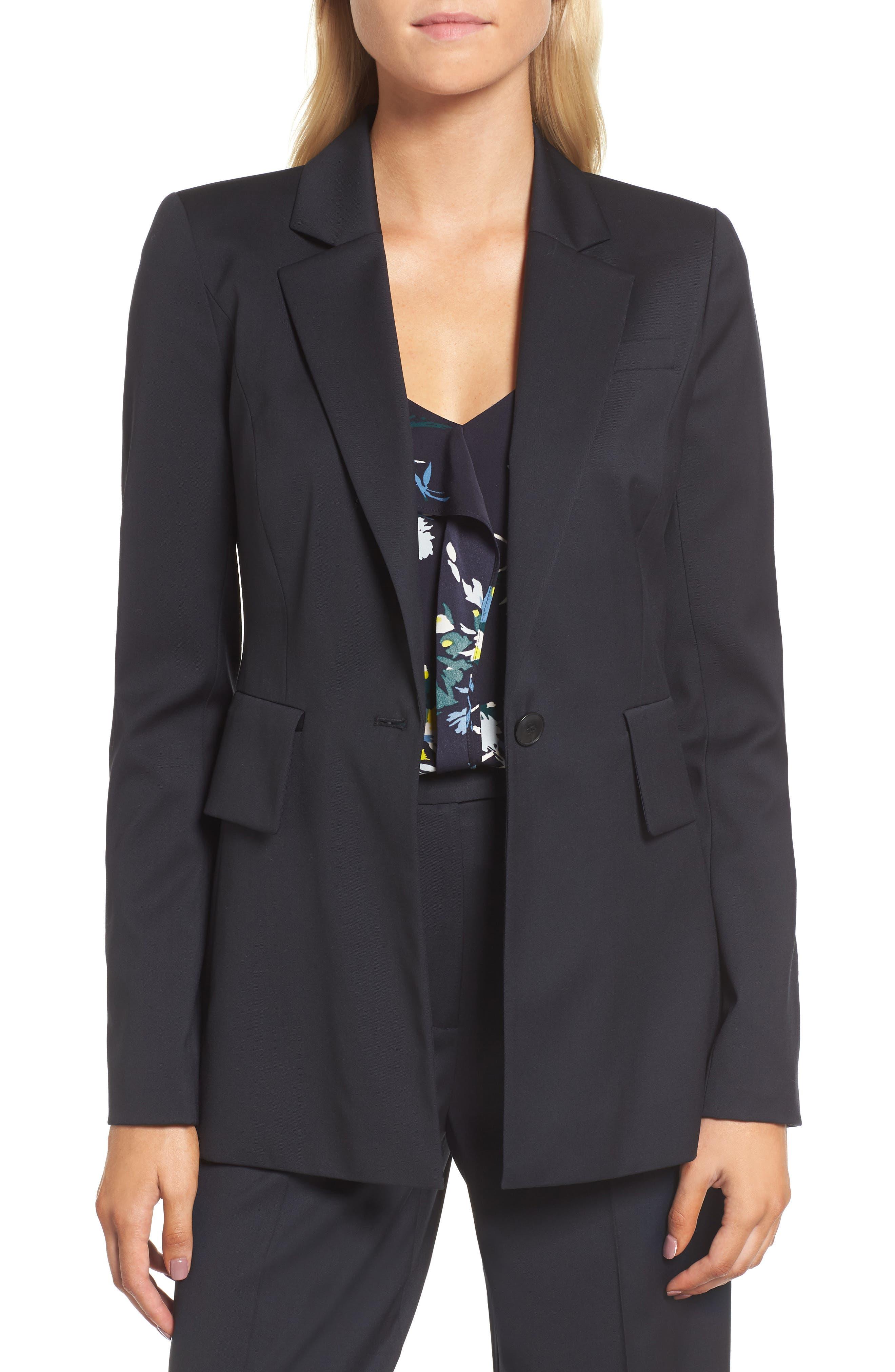 Square Shoulder Suit Jacket,                         Main,                         color, Navy Night