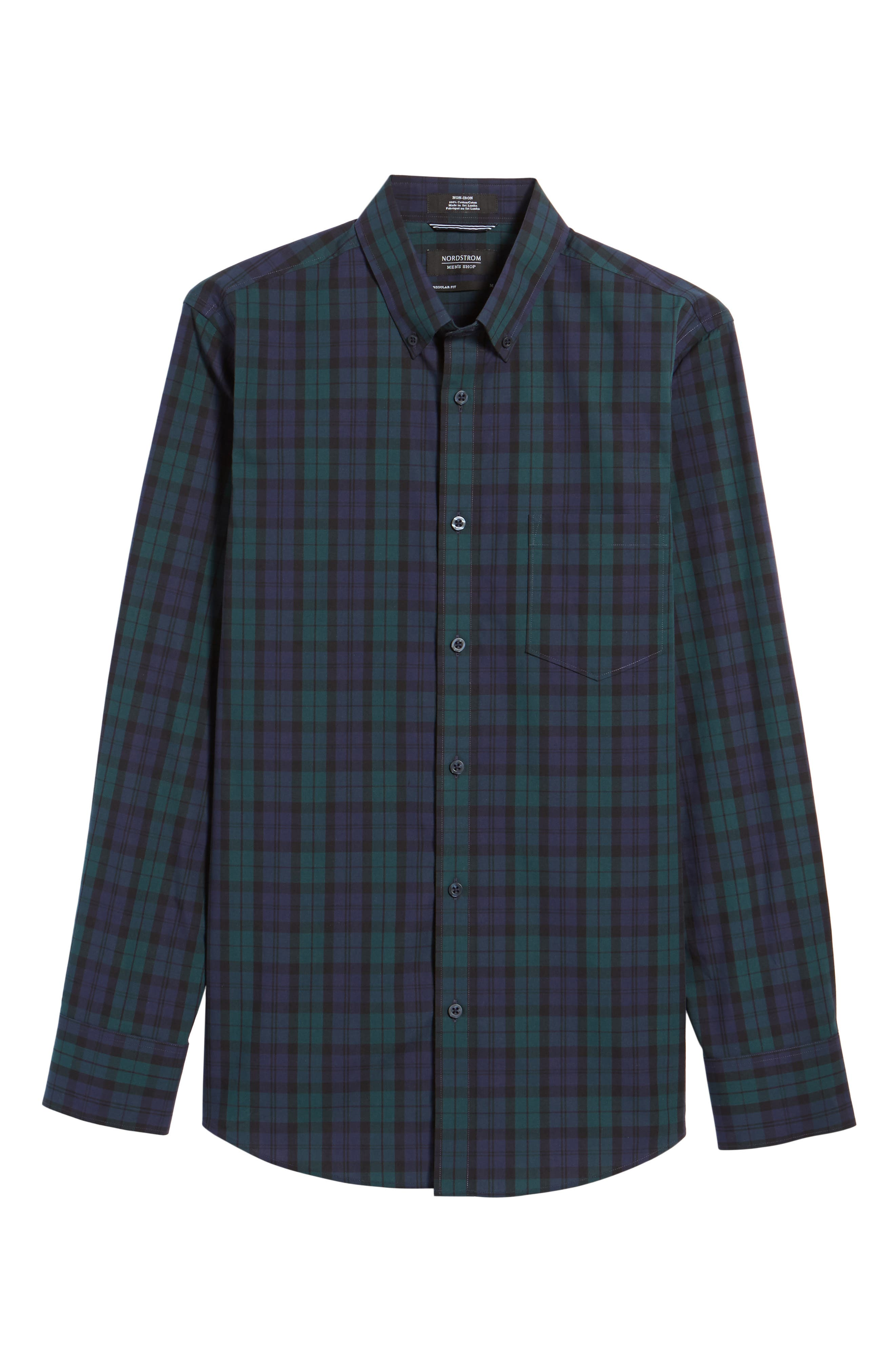 Regular Fit Non-Iron Plaid Sport Shirt,                             Alternate thumbnail 6, color,                             Green Bug Navy Tartan