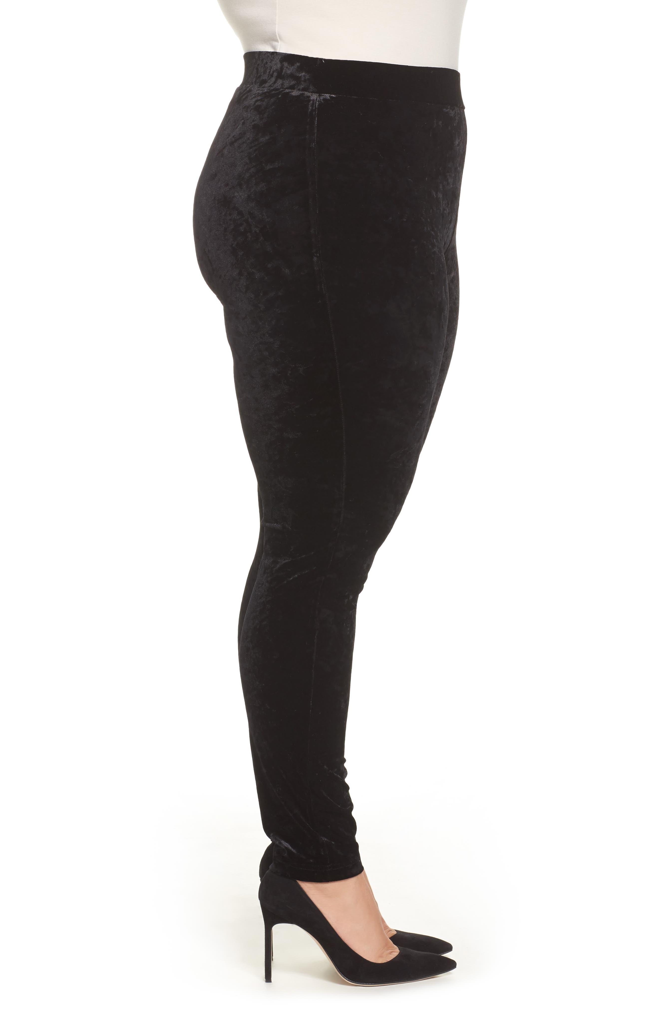 Alternate Image 3  - Vince Camuto Crushed Velvet Knit Leggings (Plus Size)