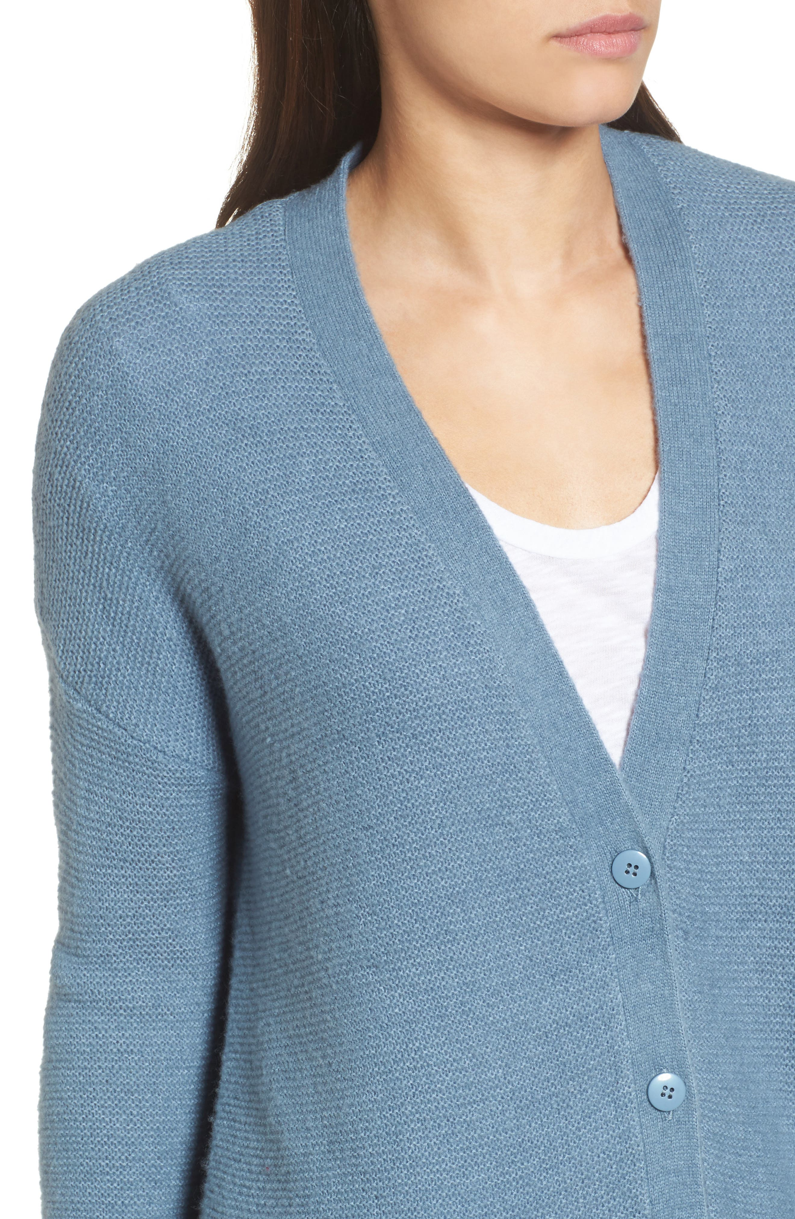 Relaxed Boyfriend Cardigan,                             Alternate thumbnail 4, color,                             Blue
