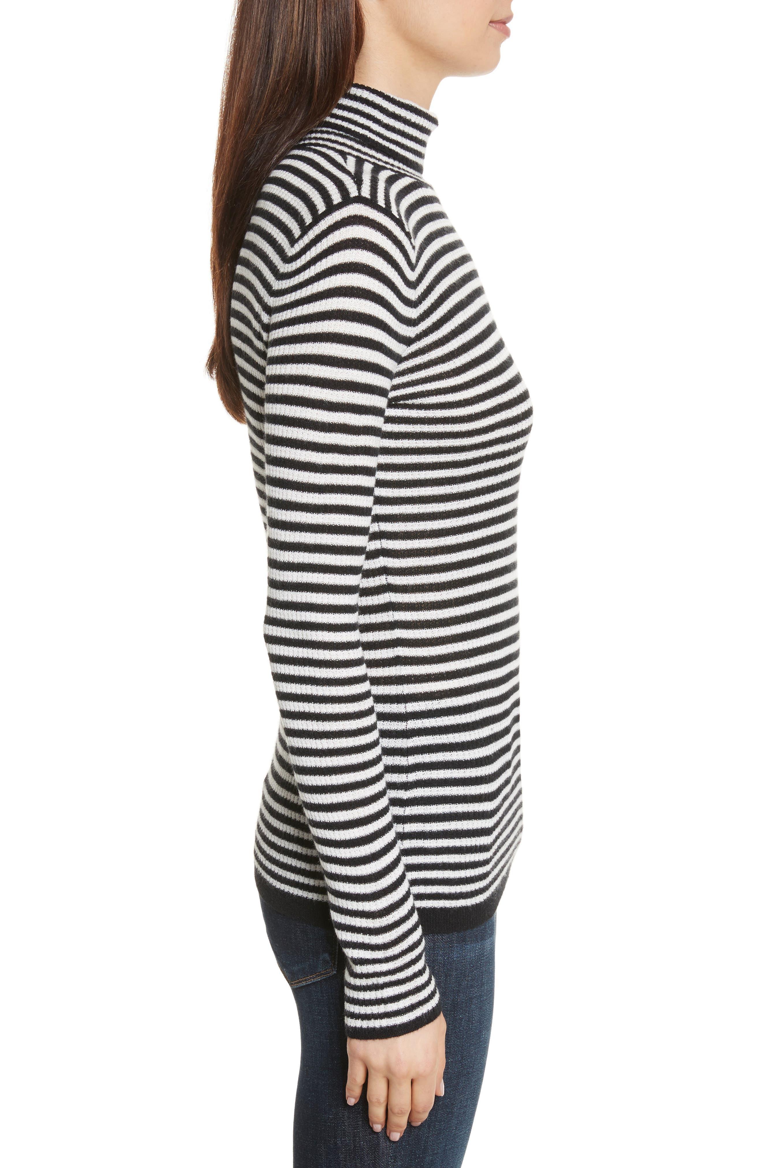 Zelene Stripe Cowl Neck Sweater,                             Alternate thumbnail 3, color,                             Caviar/ Porceclain