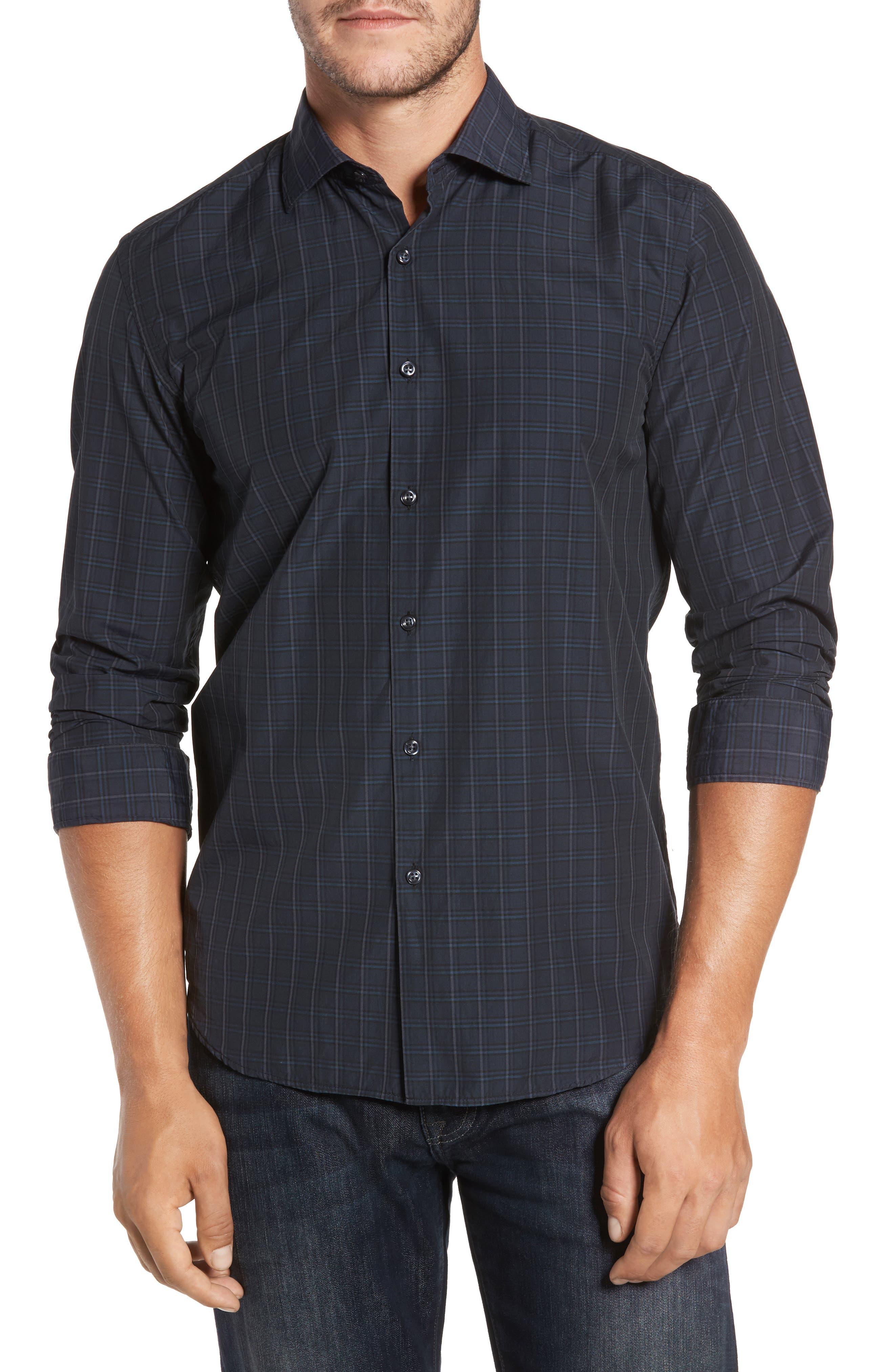 Charleston Regular Fit Plaid Sport Shirt,                         Main,                         color, Navy