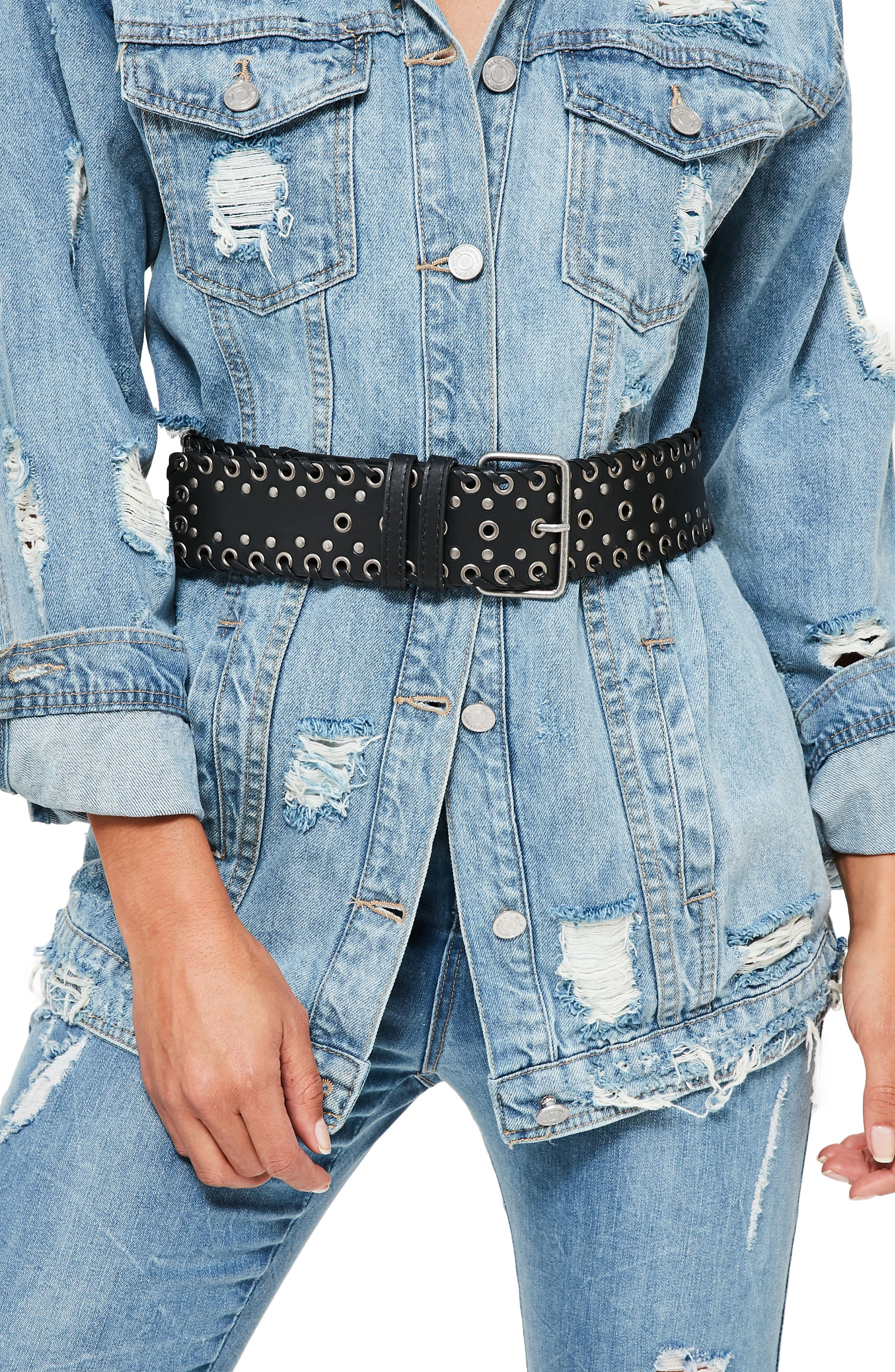 Main Image - Missguided Wide Whipstitch Faux Leather Belt