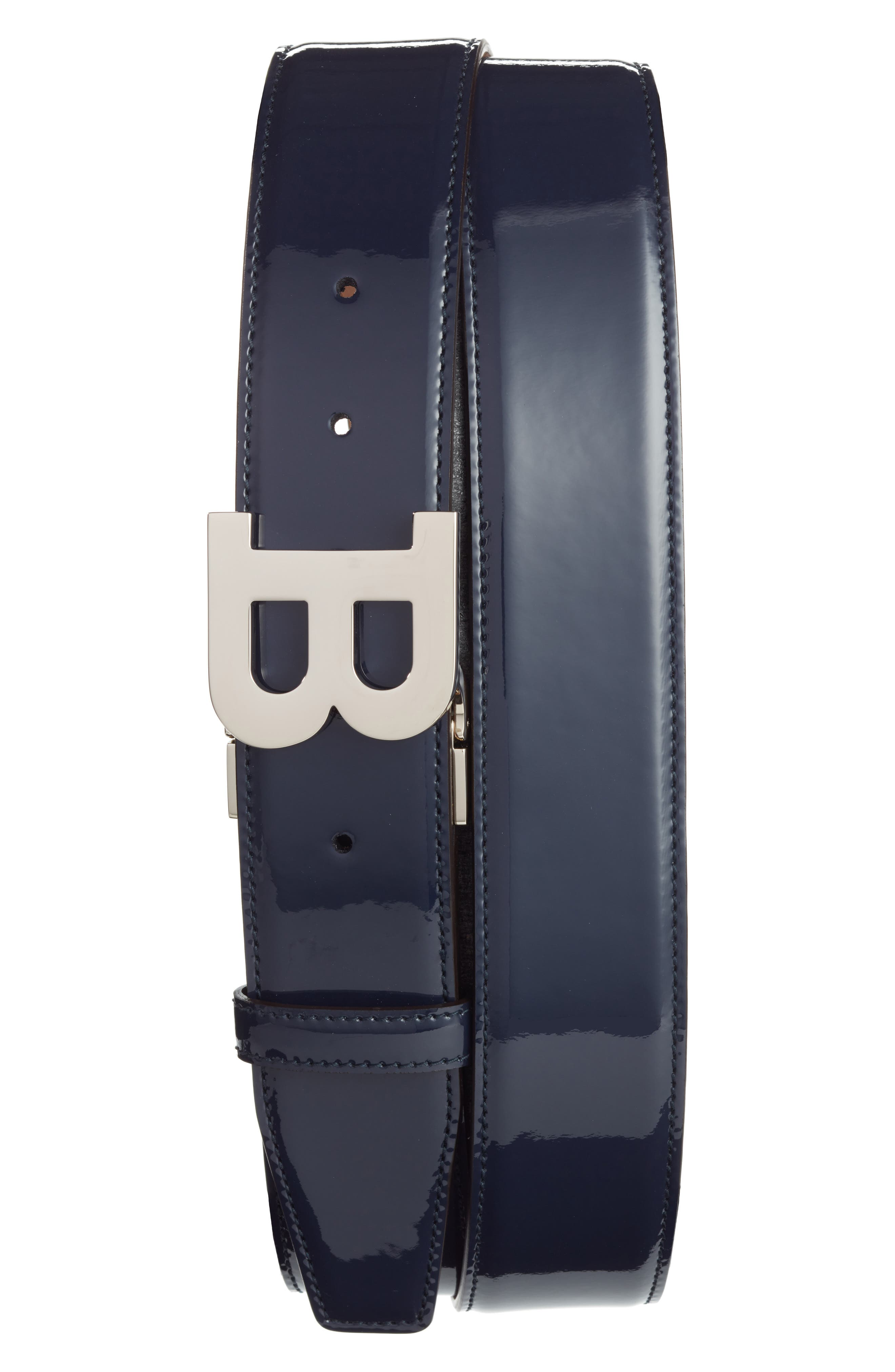 B Buckle Patent Leather Belt,                             Main thumbnail 1, color,                             Ink