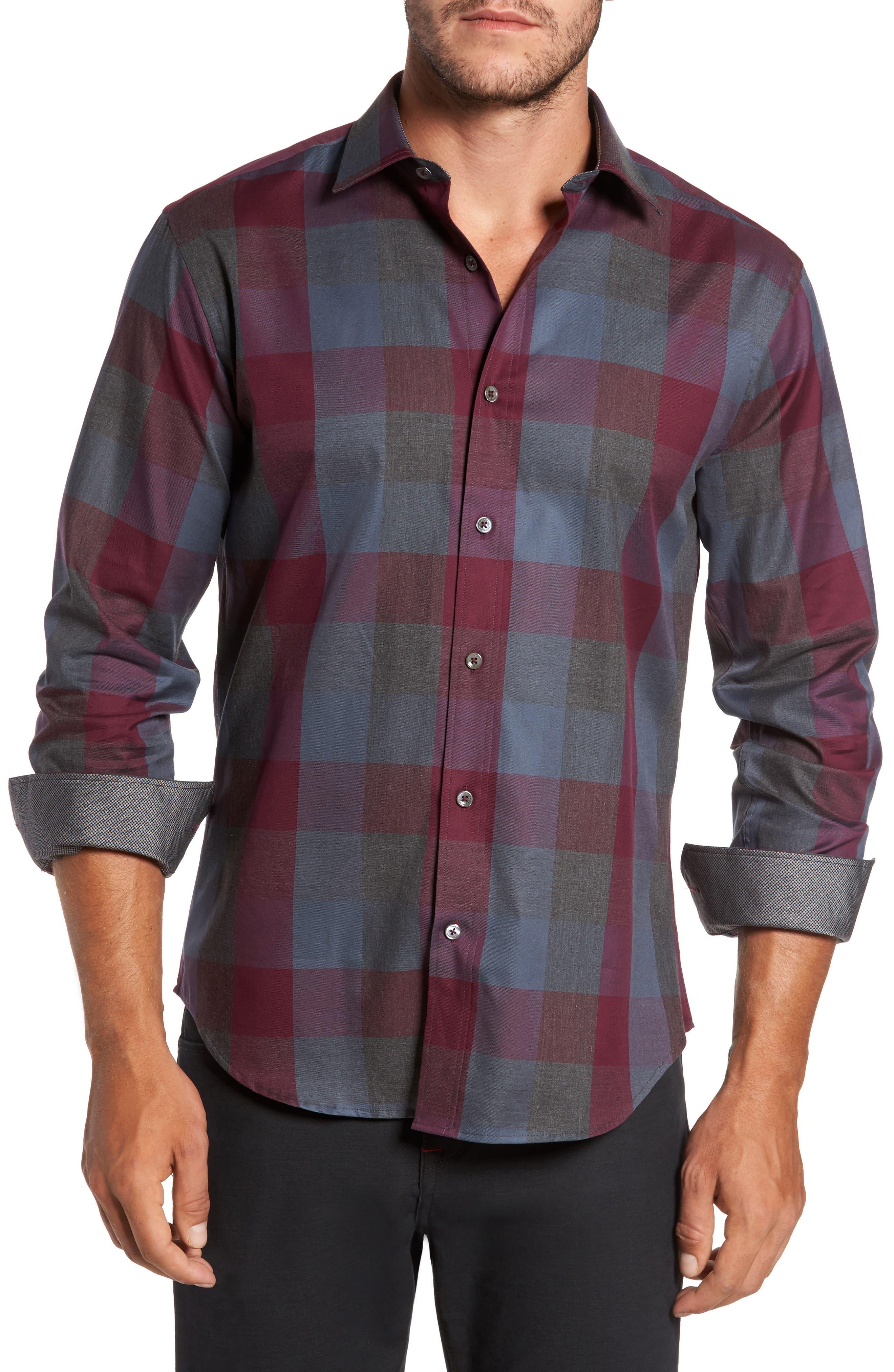 Shaped Fit Plaid Sport Shirt,                         Main,                         color, Bordeaux