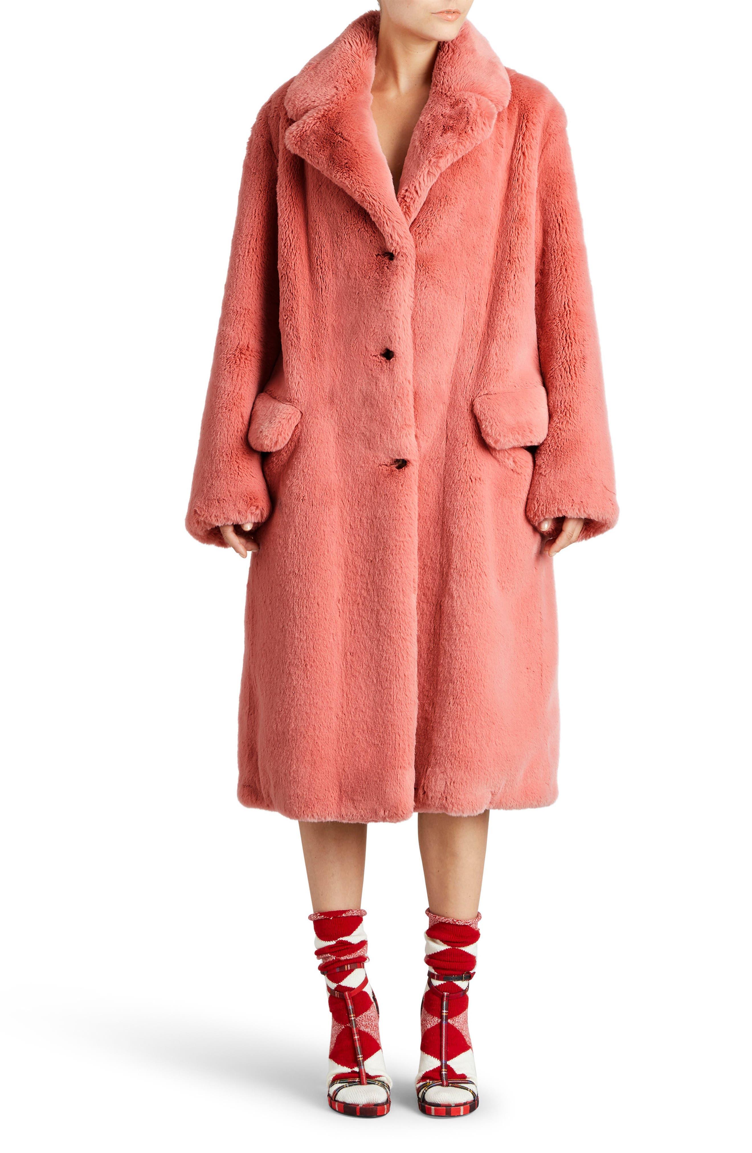 Faux Fur Coat,                             Main thumbnail 1, color,                             Pale Pink