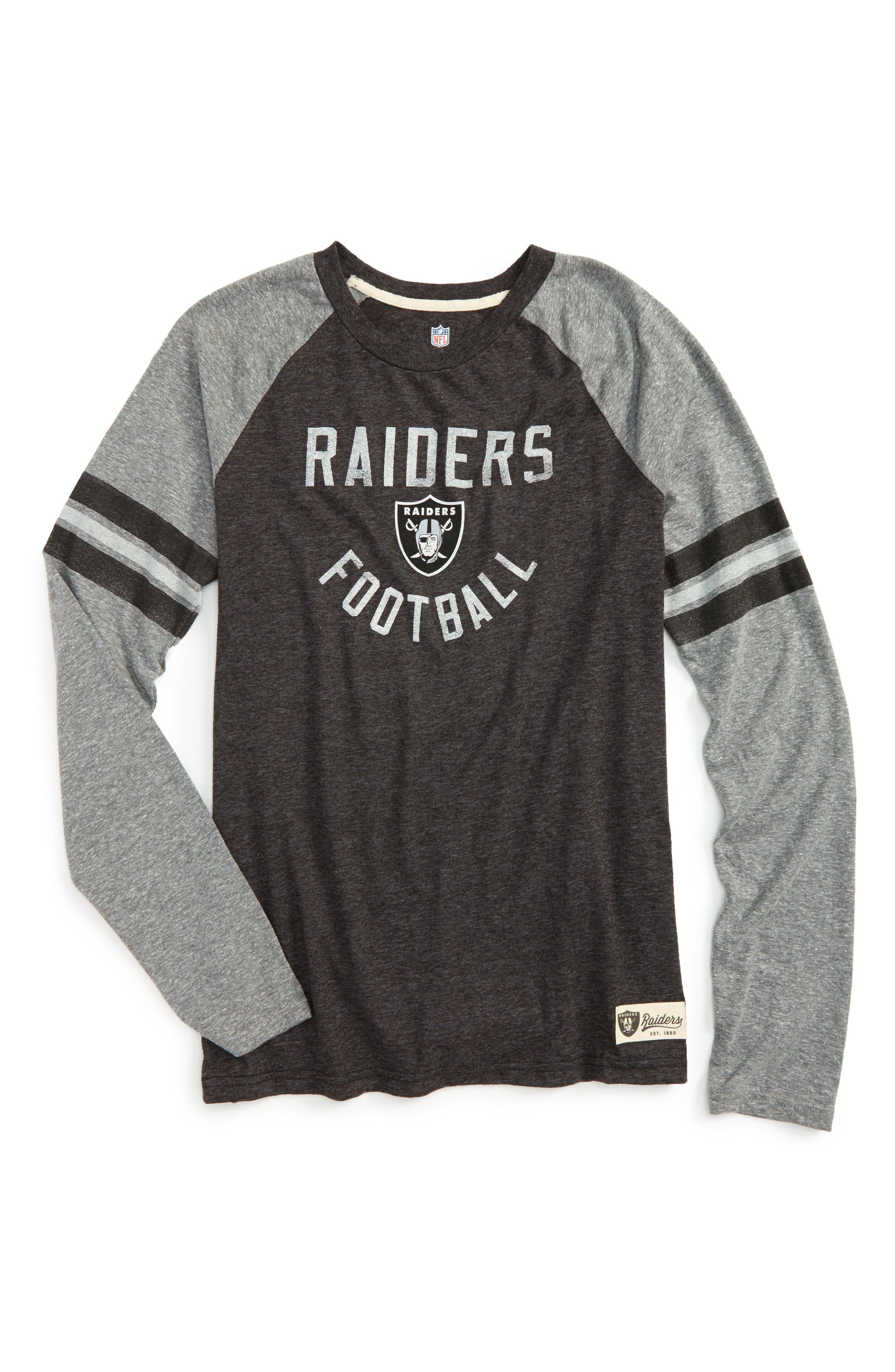 NFL Oakland Raiders Distressed Logo T-Shirt,                         Main,                         color, Black