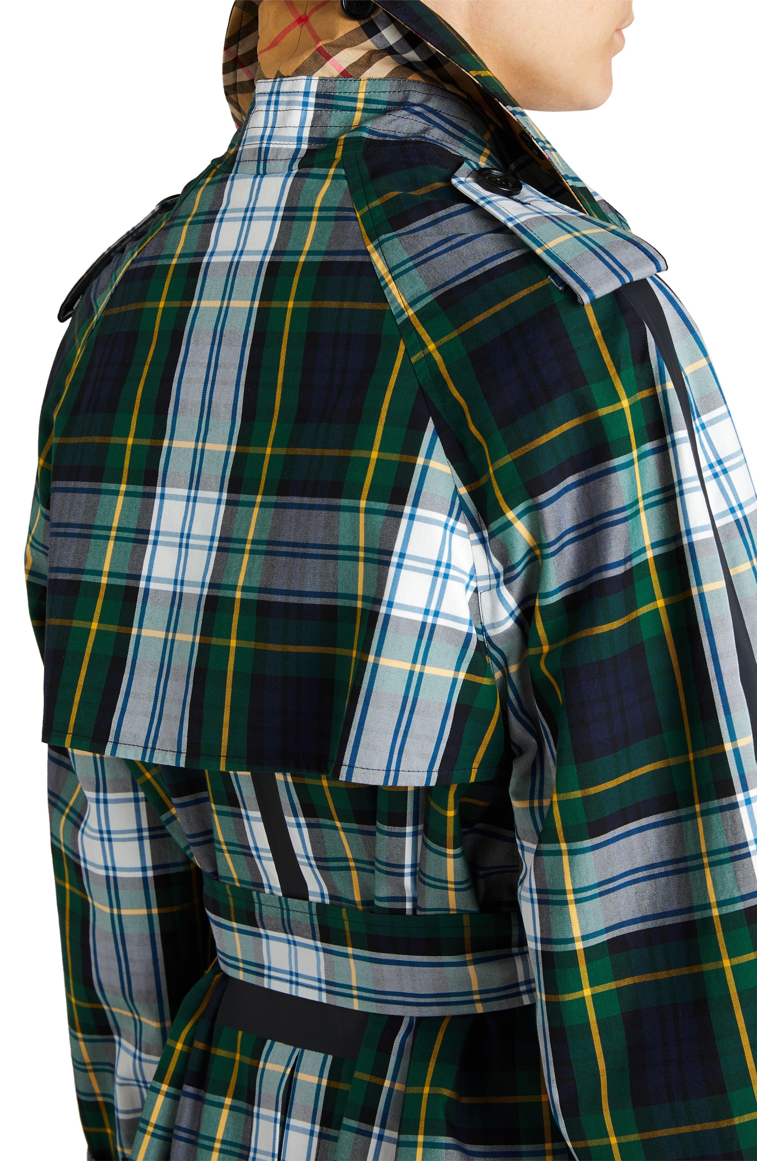 Tartan Cotton Gabardine Trench Coat,                             Alternate thumbnail 5, color,                             Ink Blue