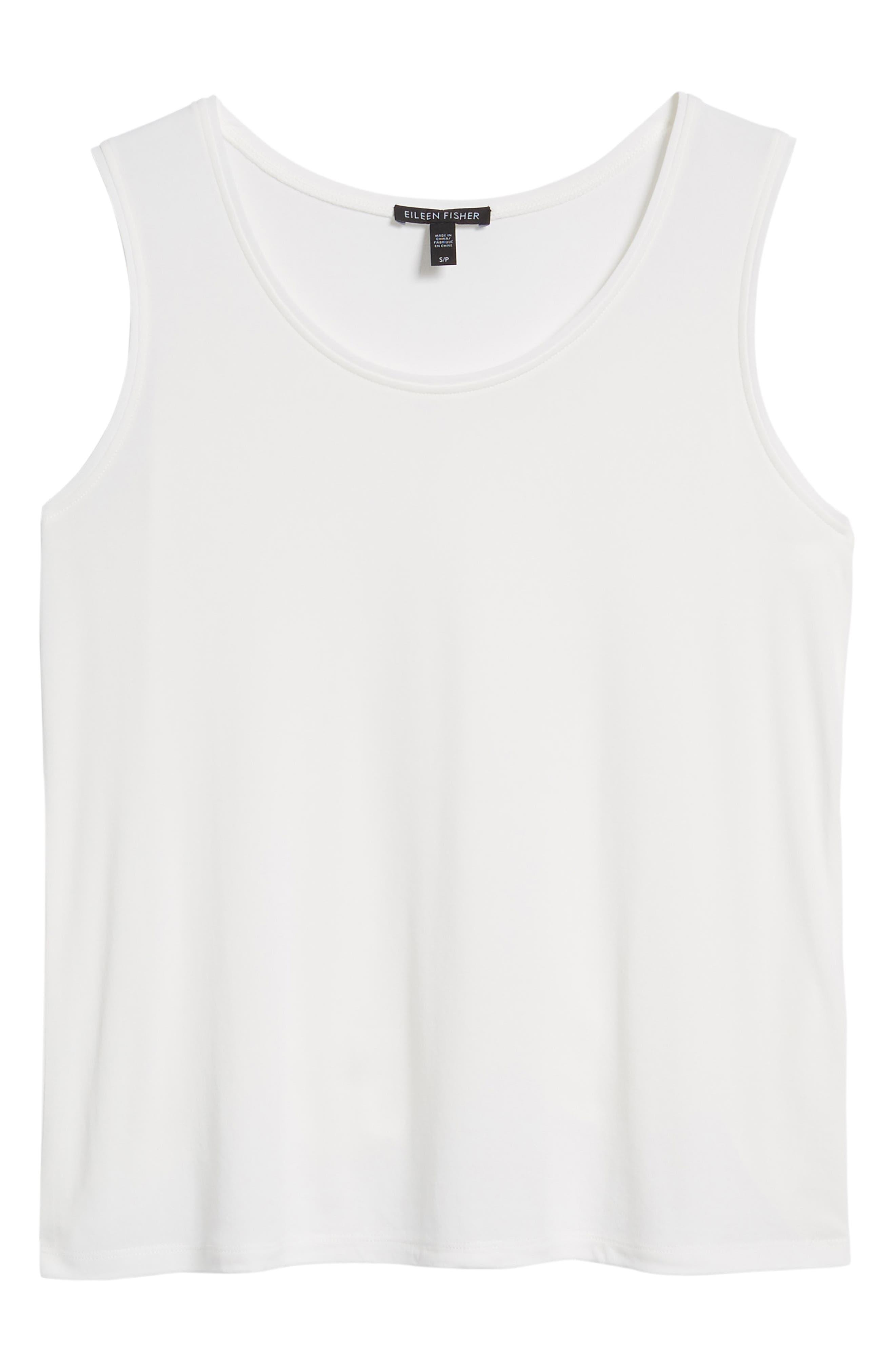 Scoop Neck Silk Tank,                             Alternate thumbnail 6, color,                             Soft White
