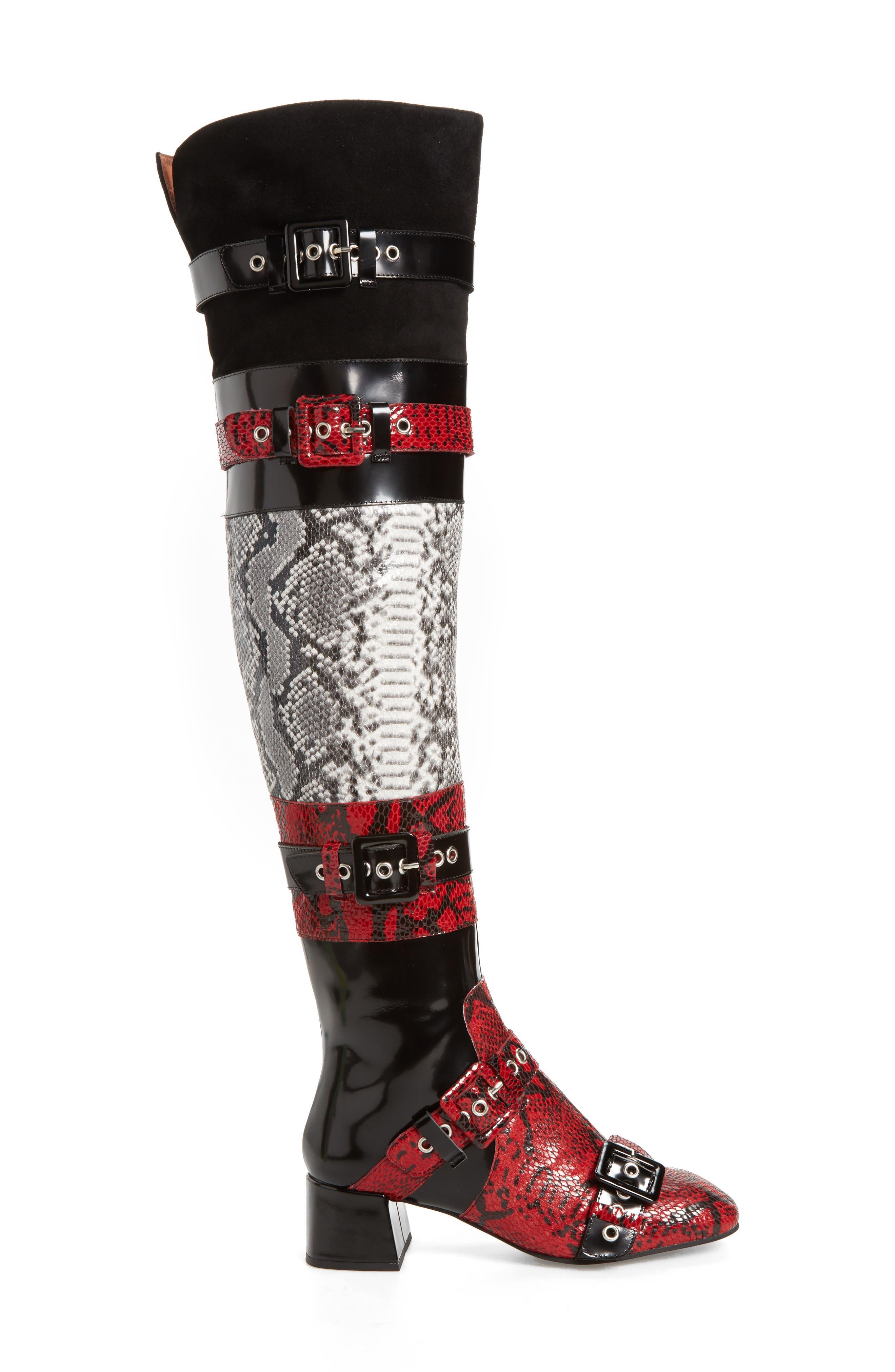 Ark Over the Knee Boot,                             Alternate thumbnail 3, color,                             Red-Black/ White Snake/ Multi