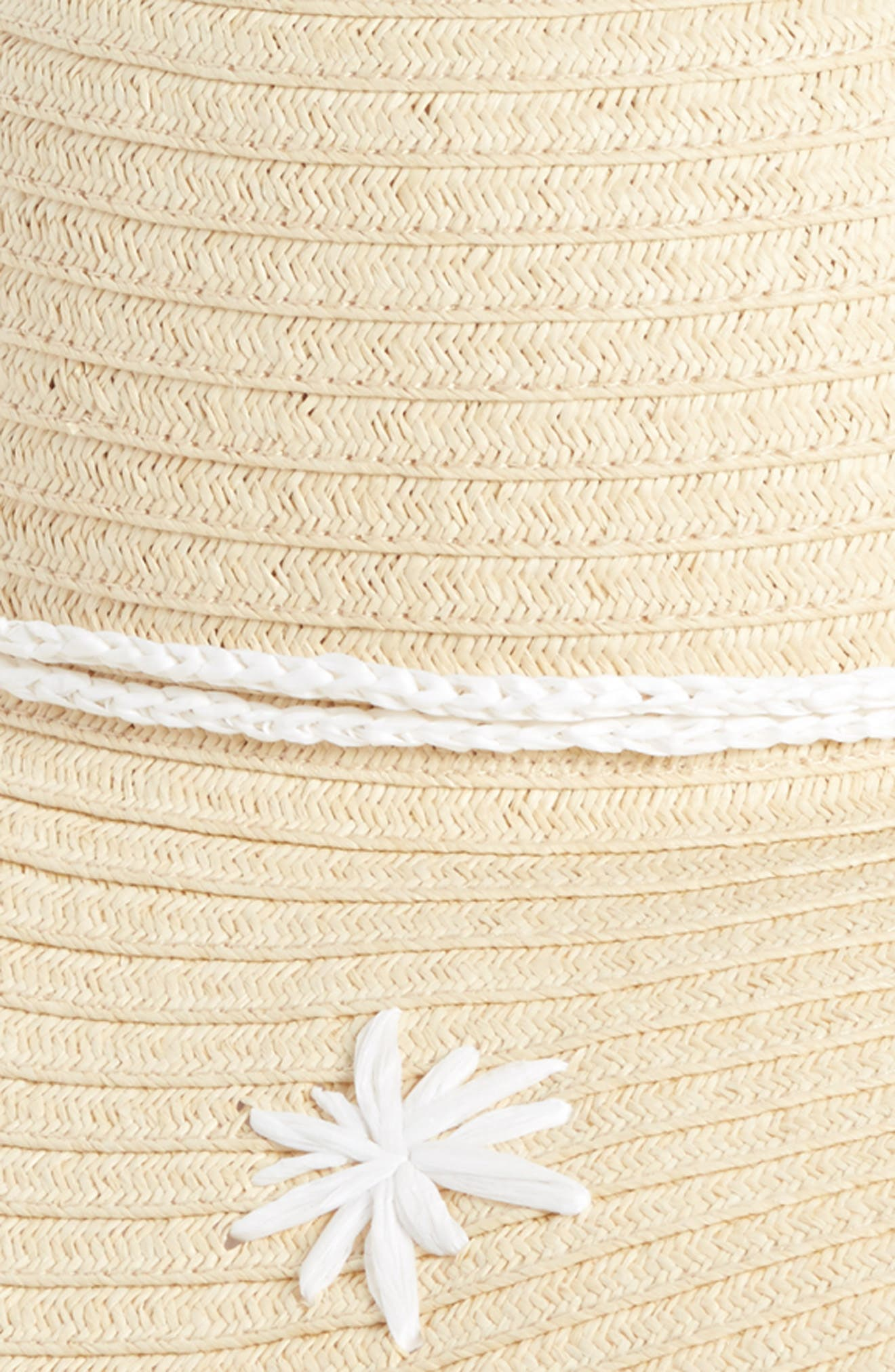 Embroidered Floppy Hat,                             Alternate thumbnail 2, color,                             Natural Combo