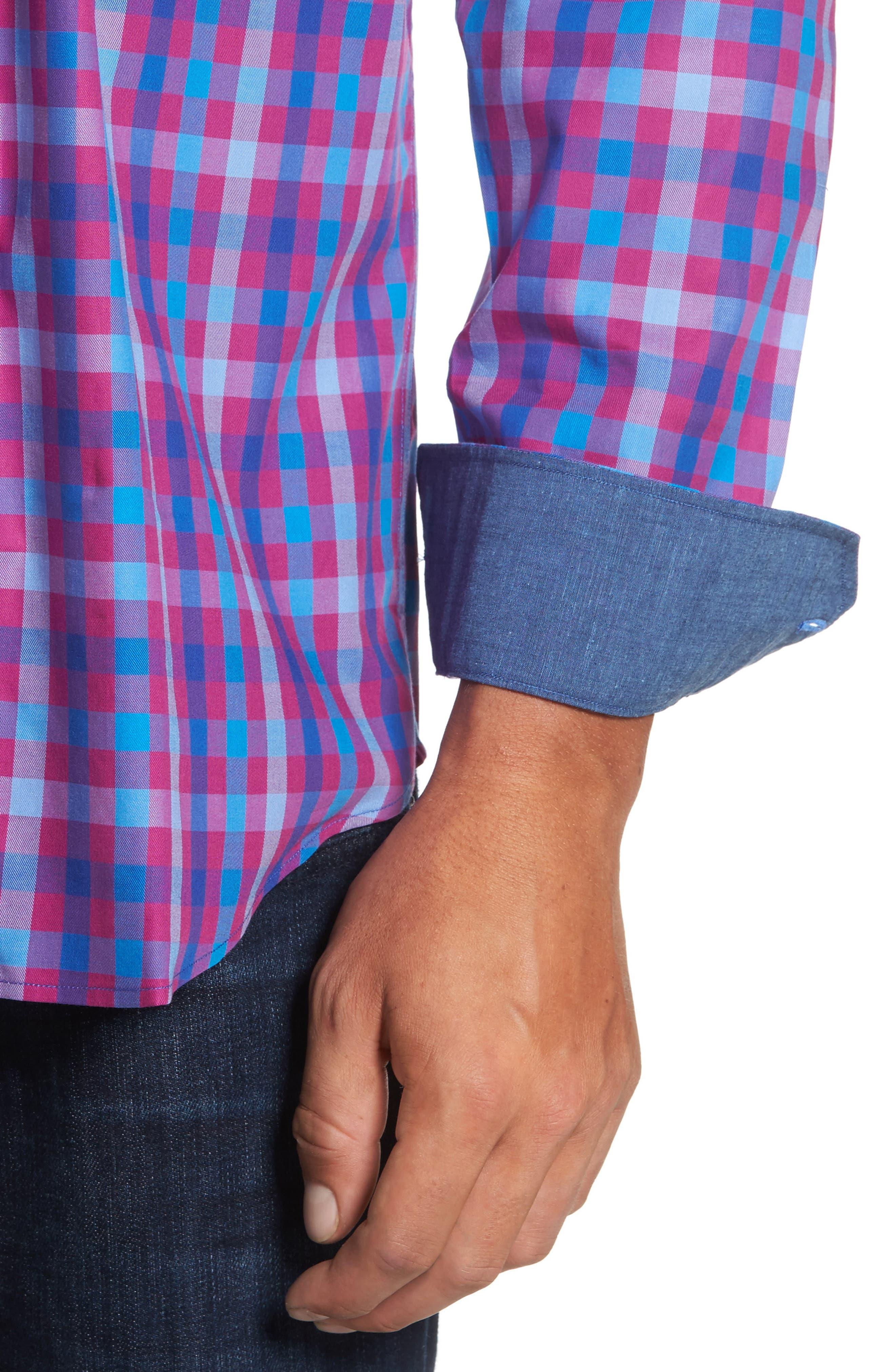 Classic Fit Check Sport Shirt,                             Alternate thumbnail 4, color,                             Fushia