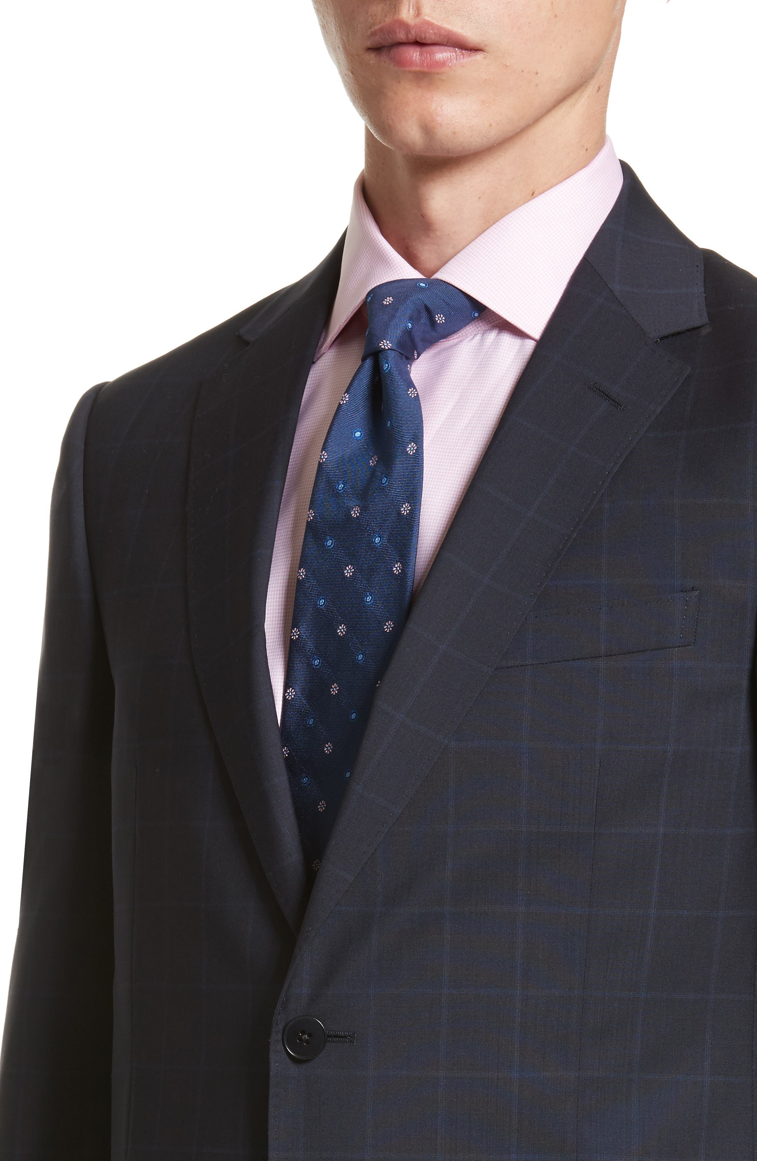 Classic Fit Windowpane Wool Suit,                             Alternate thumbnail 4, color,                             Navy Check