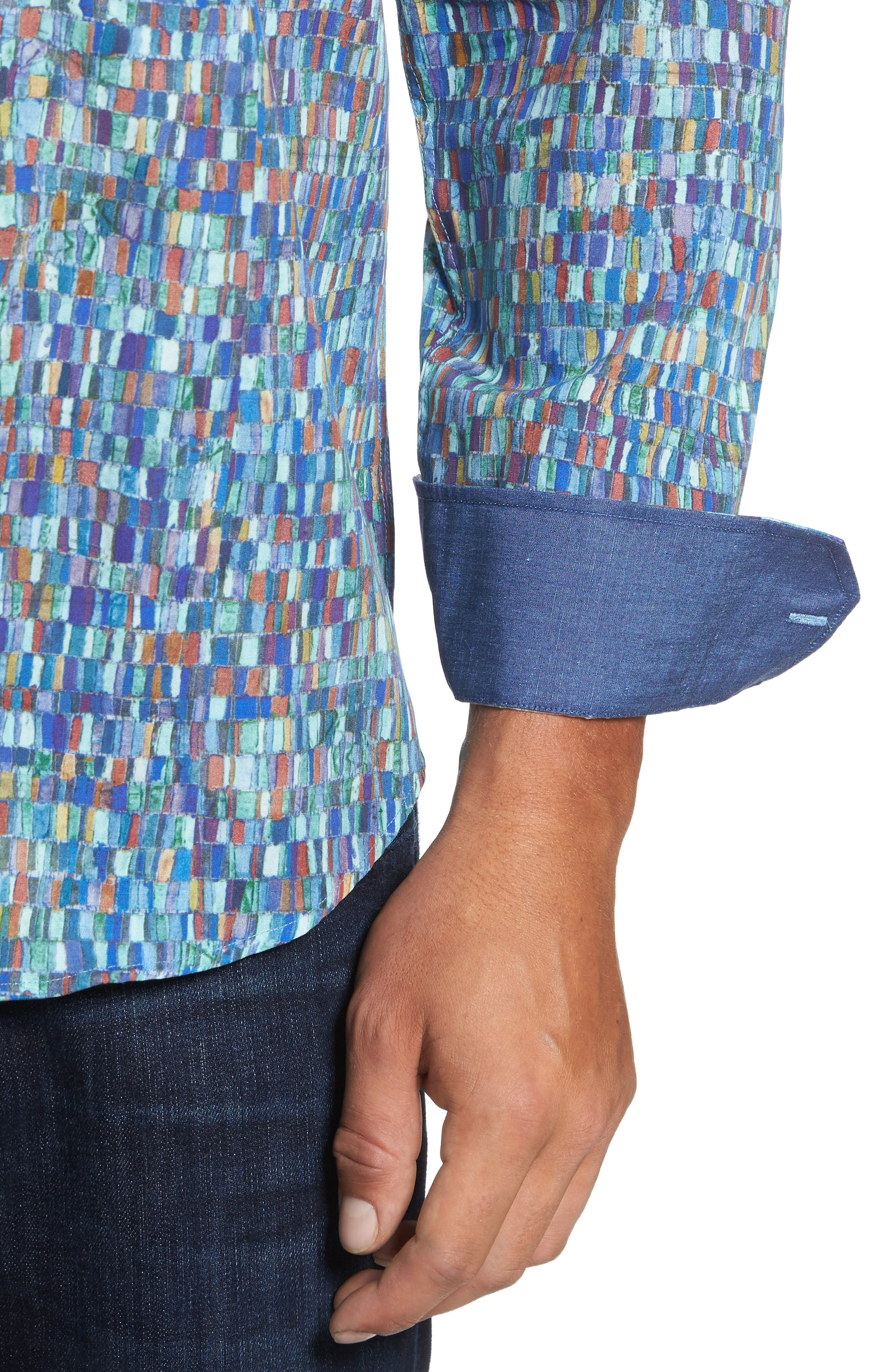 Alternate Image 4  - Bugatchi Classic Fit Mosaic Print Sport Shirt