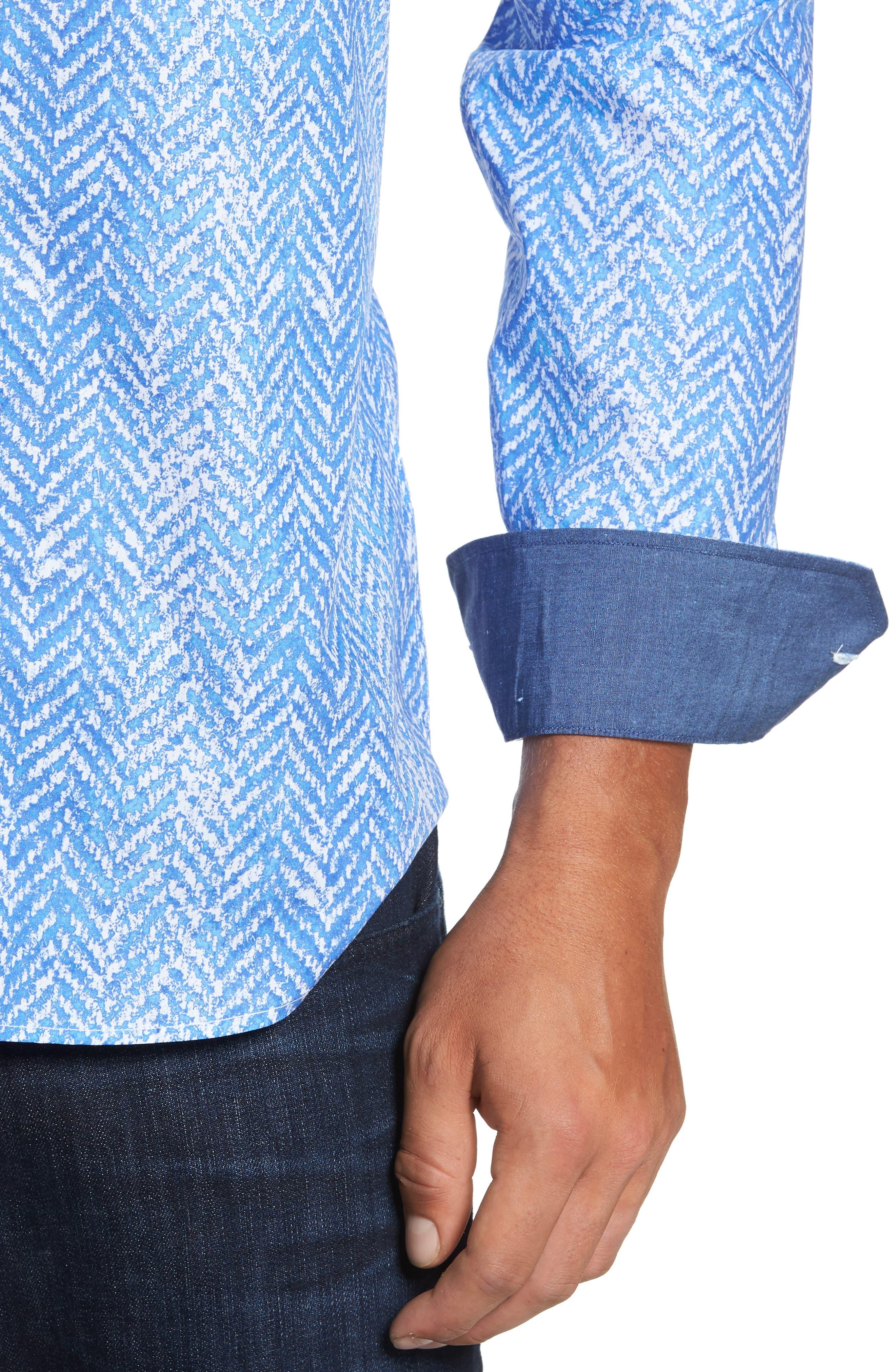 Classic Fit Herringbone Print Sport Shirt,                             Alternate thumbnail 4, color,                             Air Blue