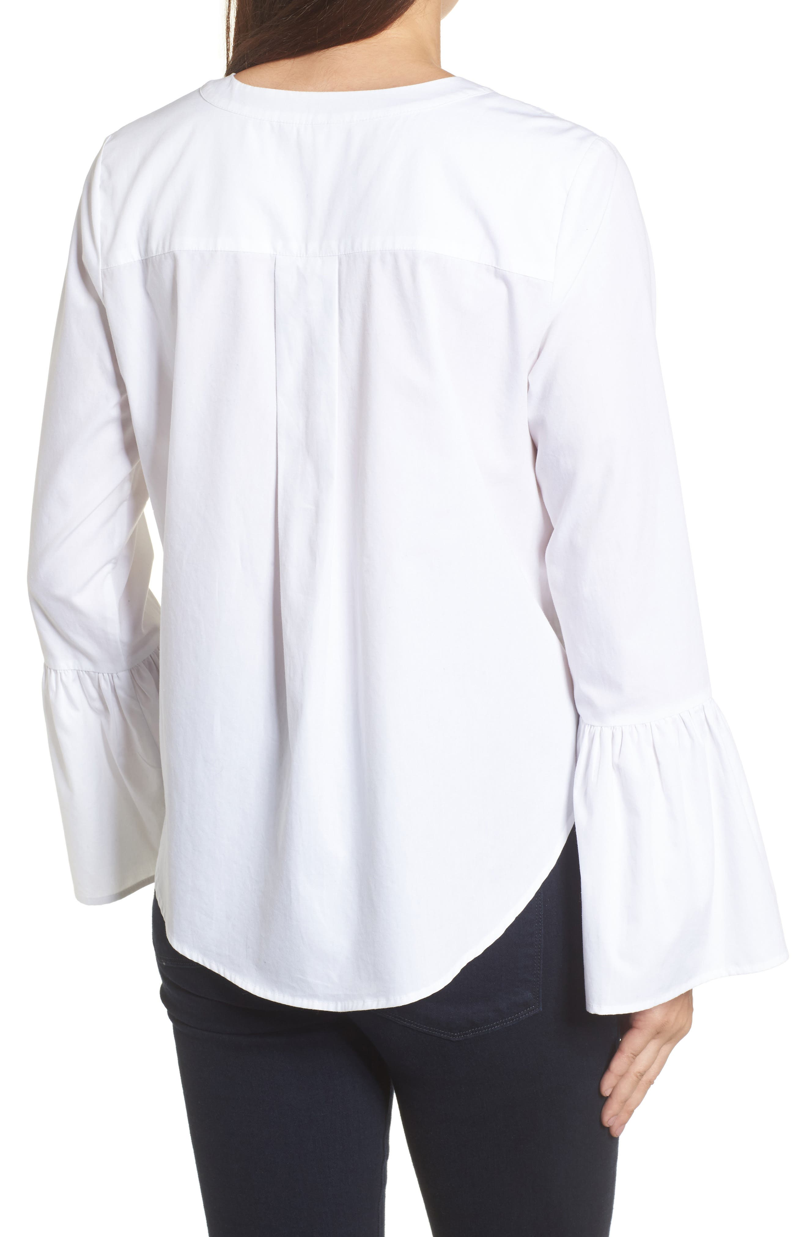 Embroidered Bell Sleeve Top,                             Alternate thumbnail 2, color,                             White Embroidered Pattern