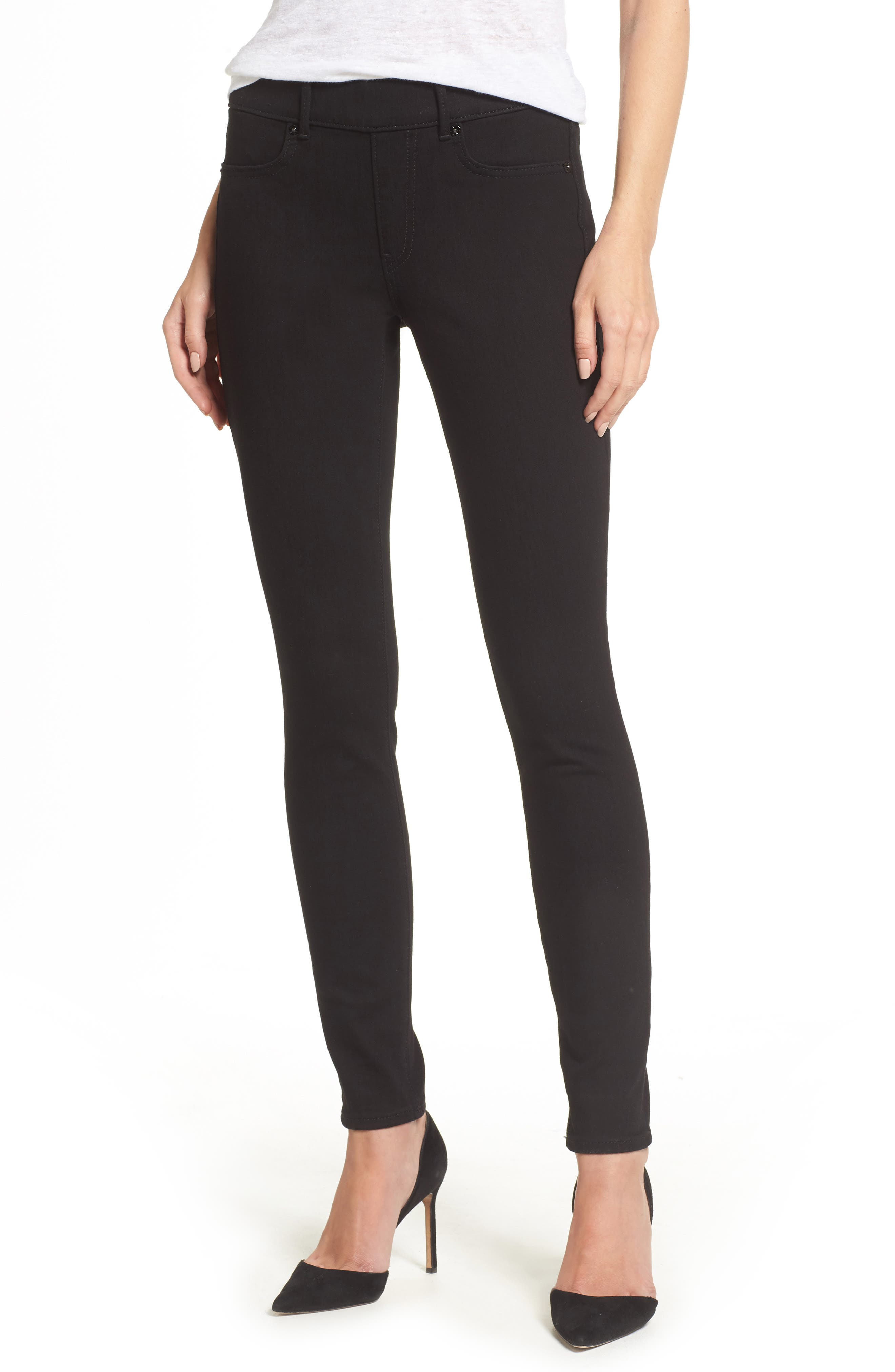 Main Image - True Religion Brand Jeans Jennie Curvy Runway Leggings (Body Rinse Black)
