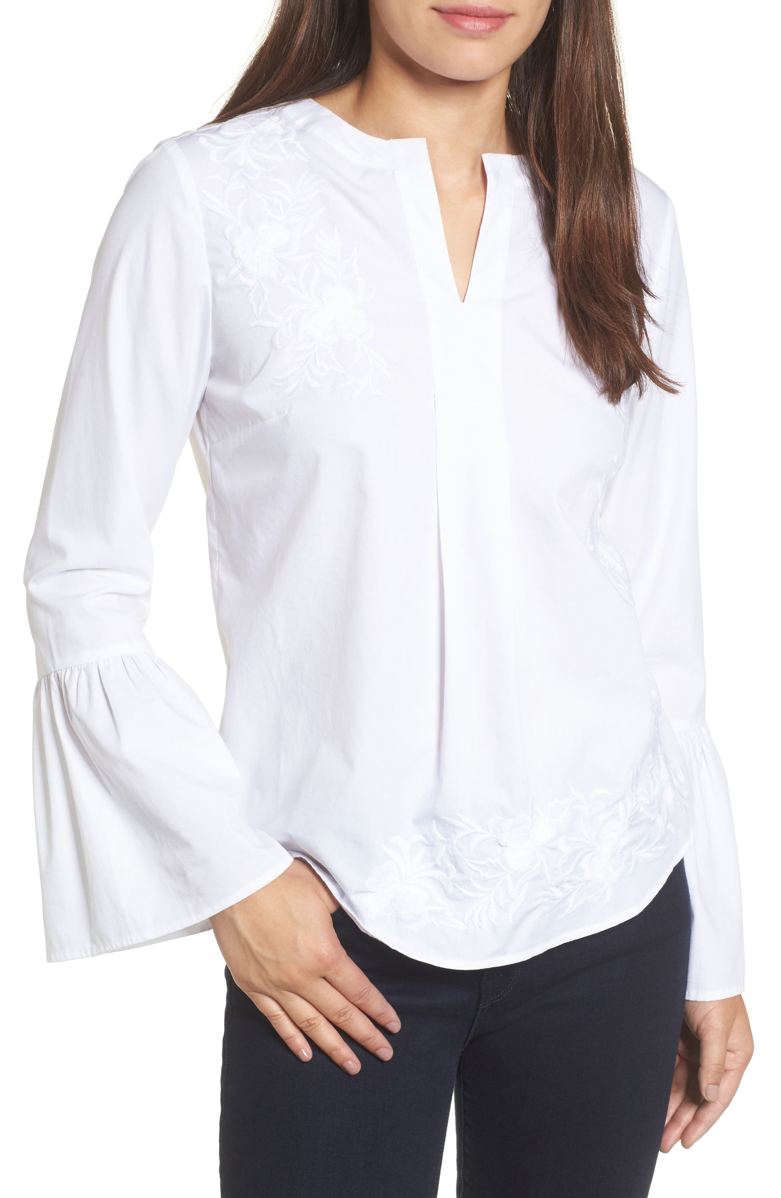 Main Image - Caslon® Embroidered Bell Sleeve Top (Regular & Petite)