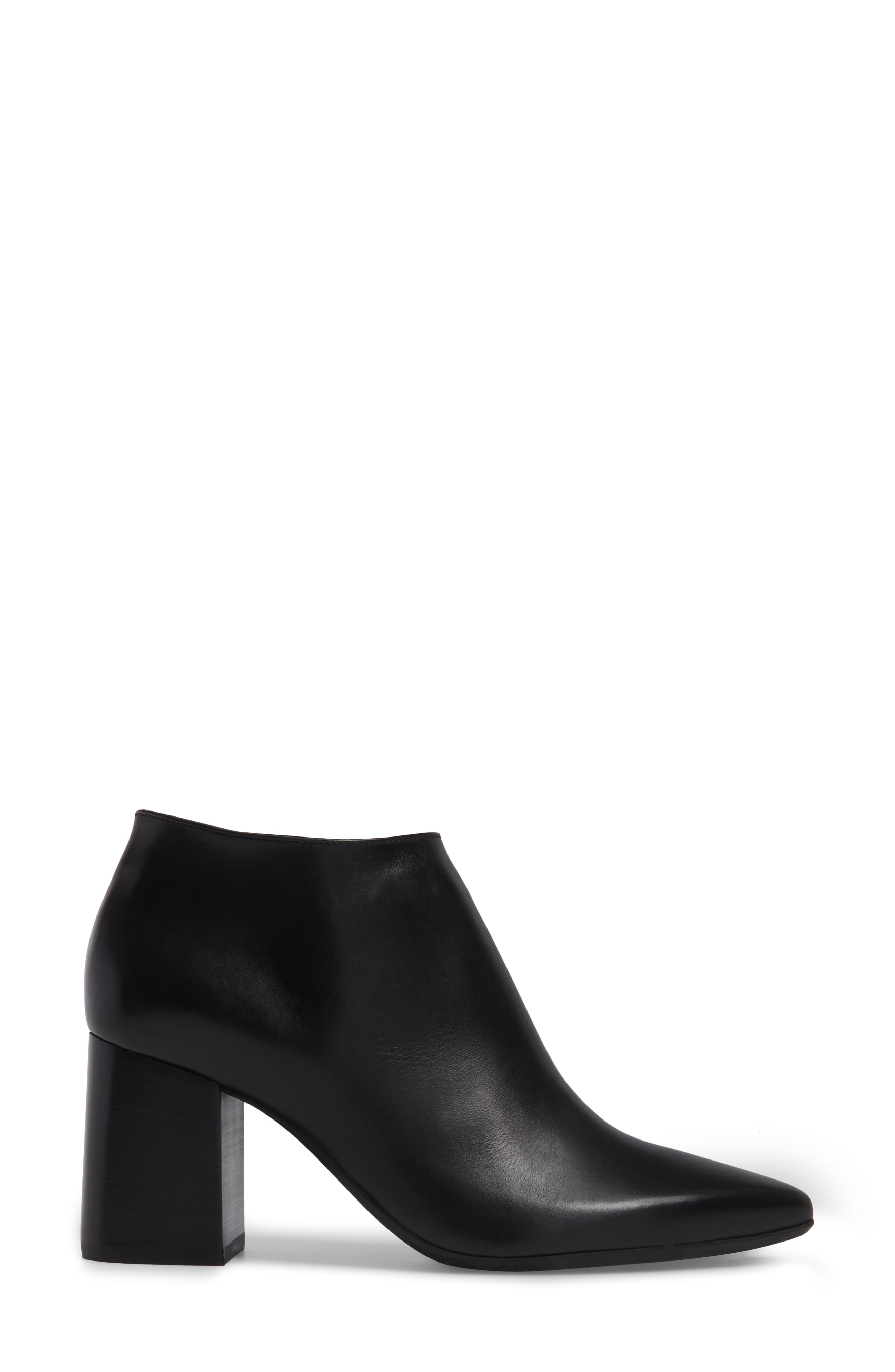 Maria Pointy Toe Bootie,                             Alternate thumbnail 3, color,                             Black Leather