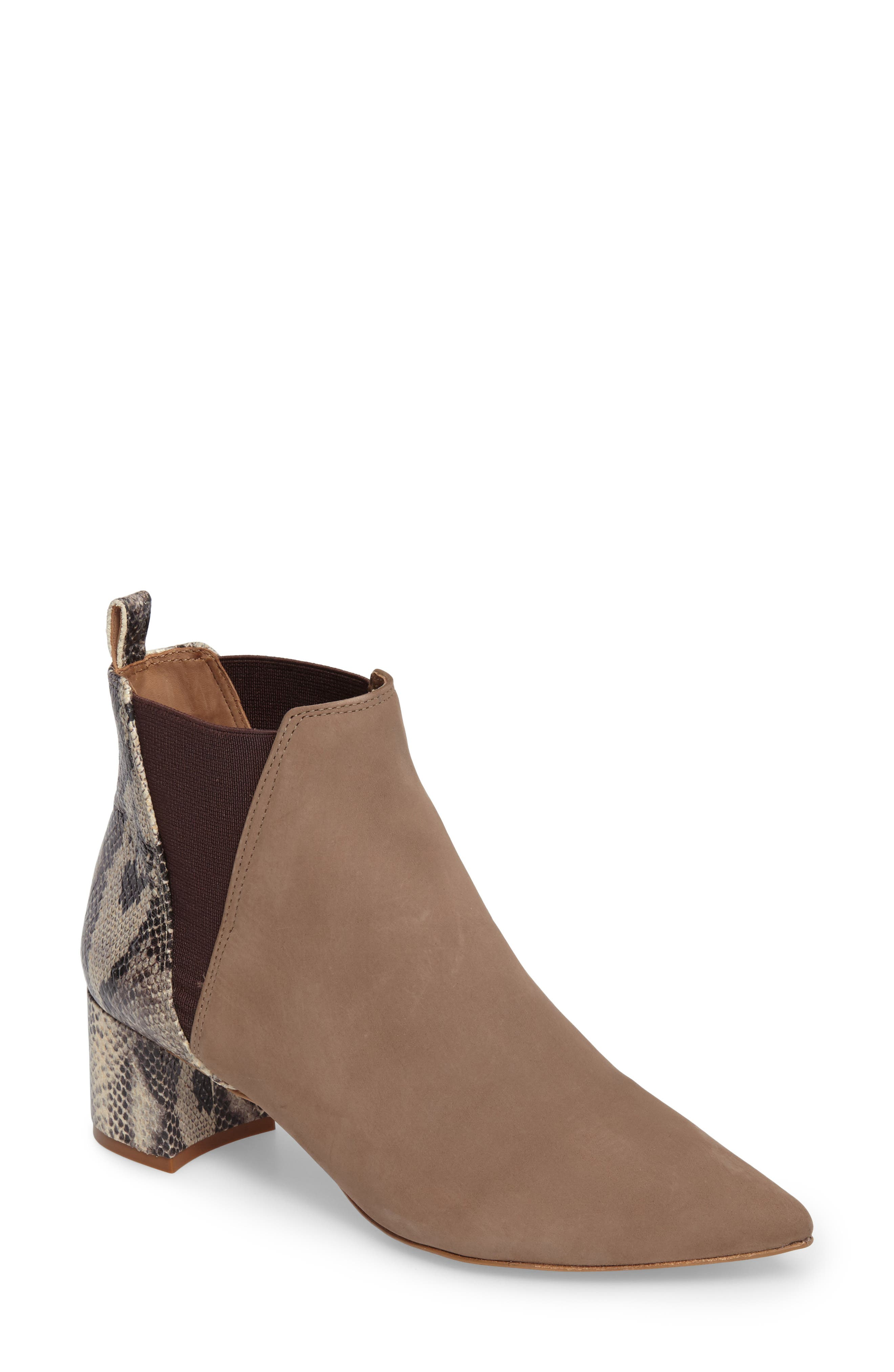 Renita Pointy Toe Chelsea Bootie,                         Main,                         color, Taupe Snake Print Suede