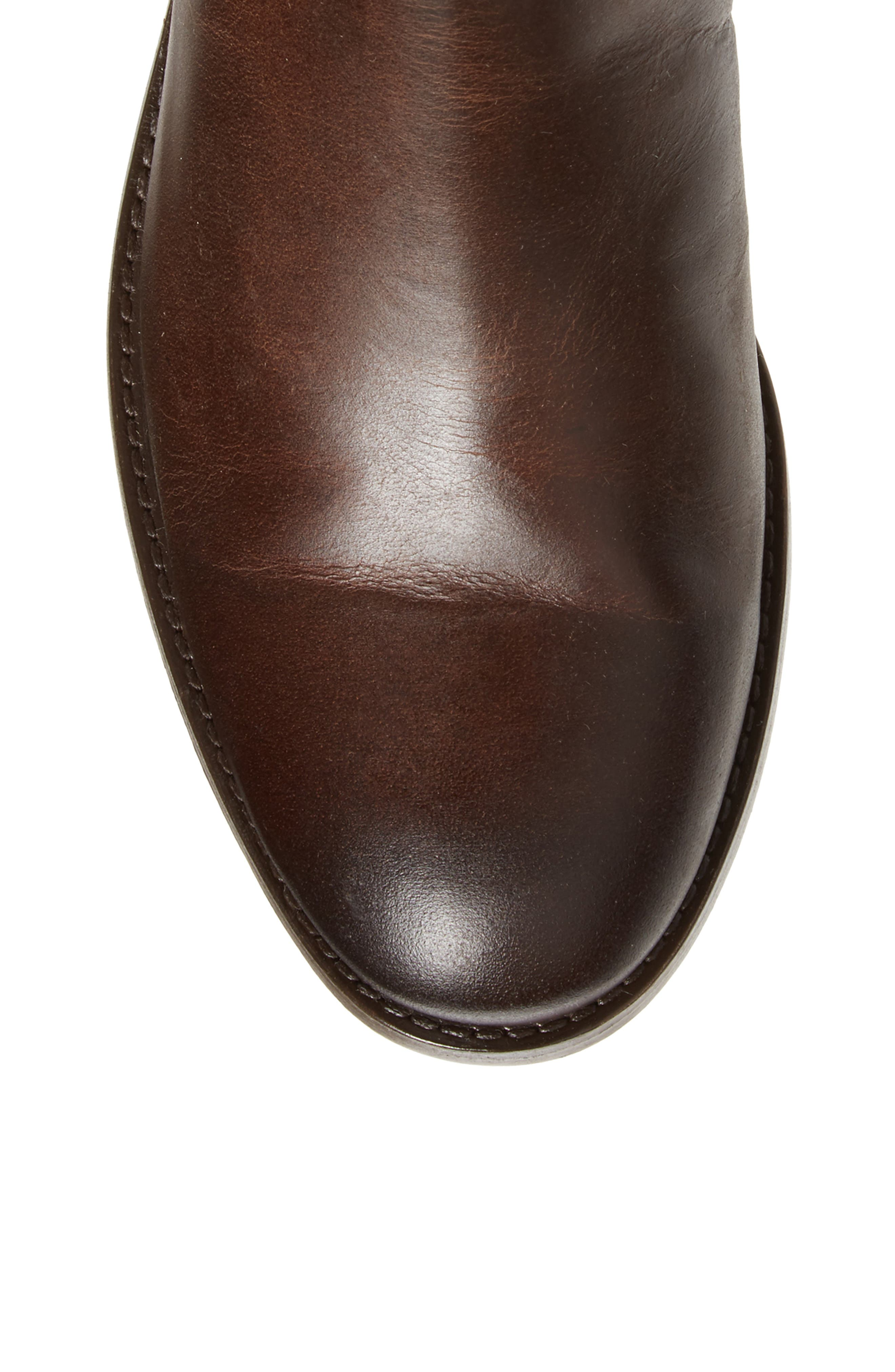 Melissa Stud Knee High Boot,                             Alternate thumbnail 5, color,                             Chocolate Leather