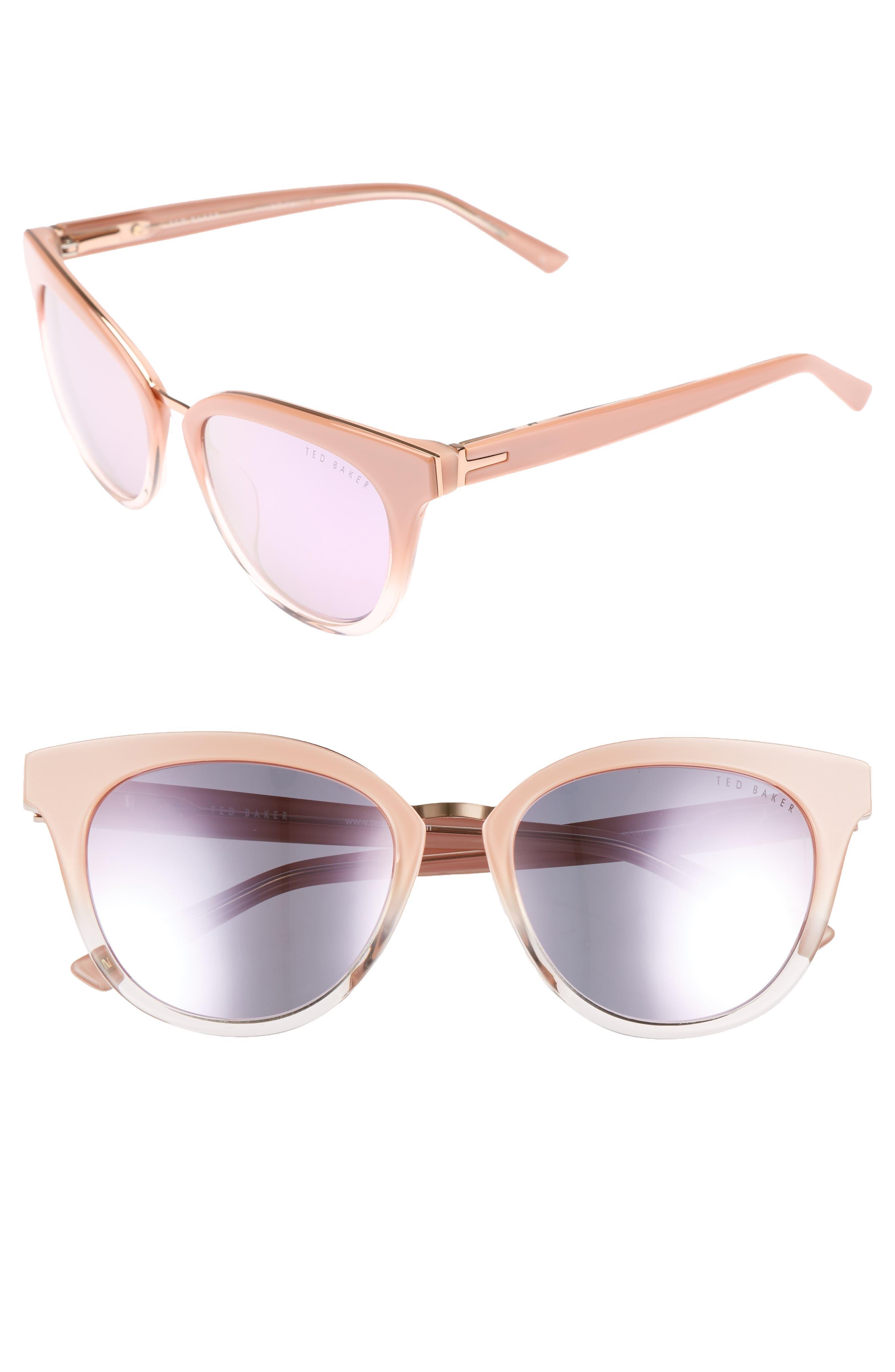 53mm Cat Eye Sunglasses,                             Main thumbnail 1, color,                             Blush