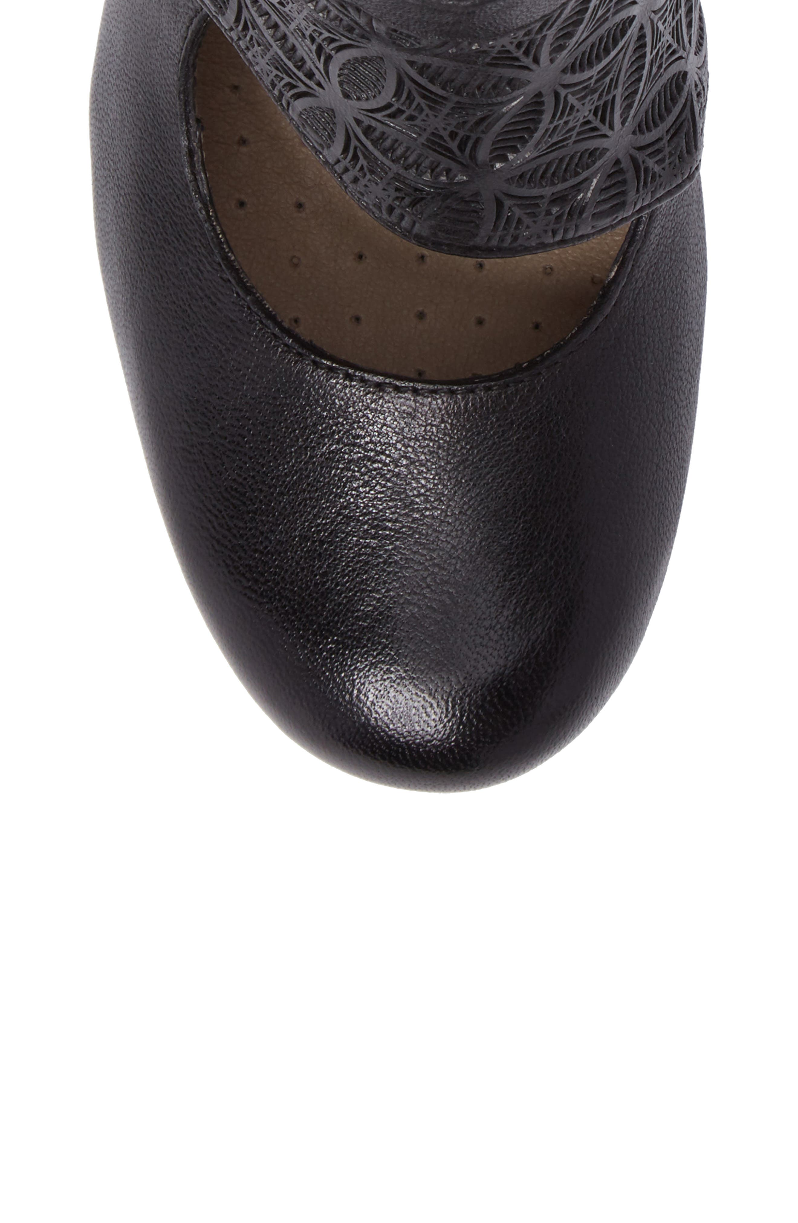 Dale Embossed Mary Jane Bootie,                             Alternate thumbnail 5, color,                             Black