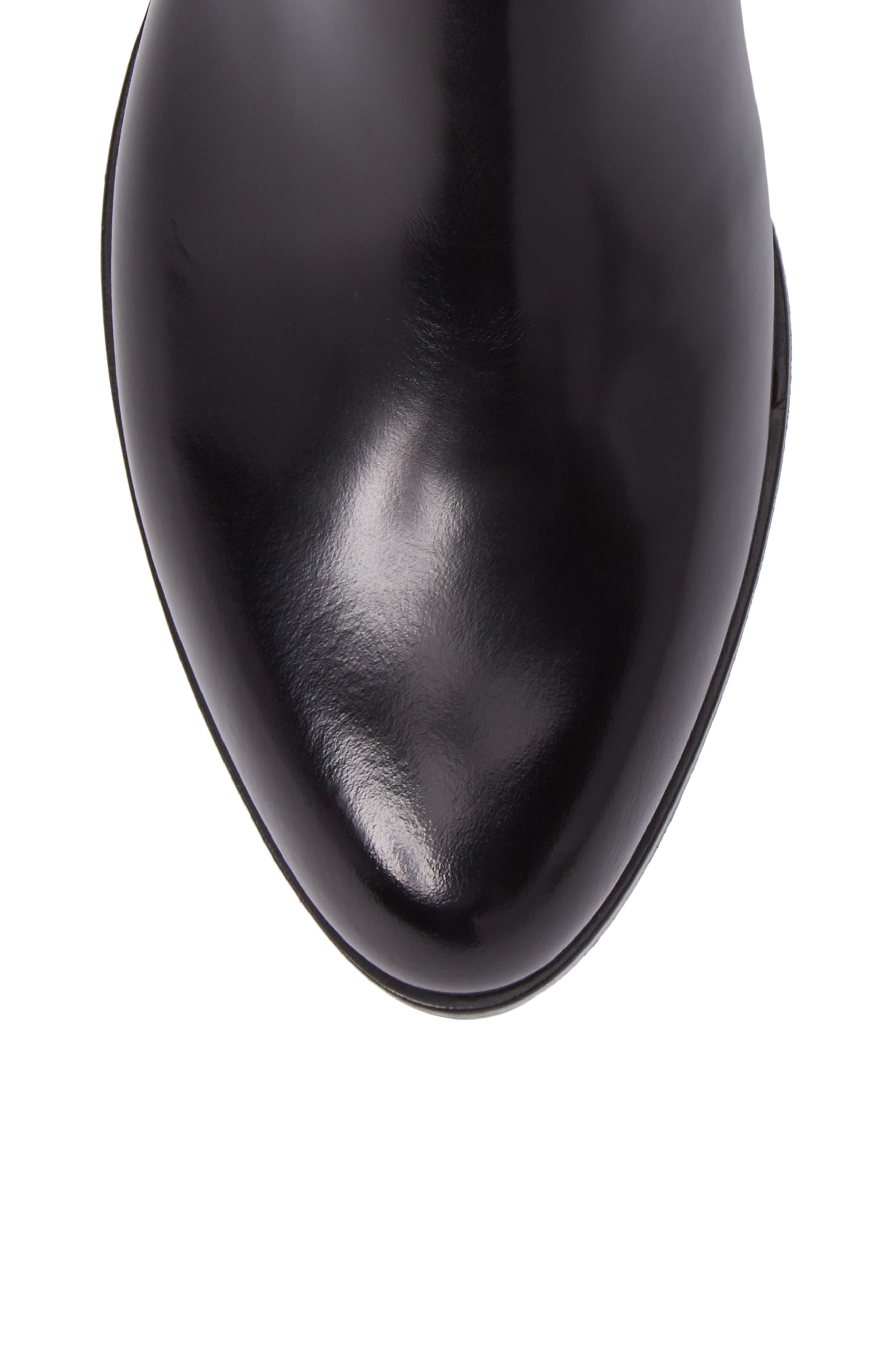 Gored Bootie,                             Alternate thumbnail 5, color,                             Black Leather