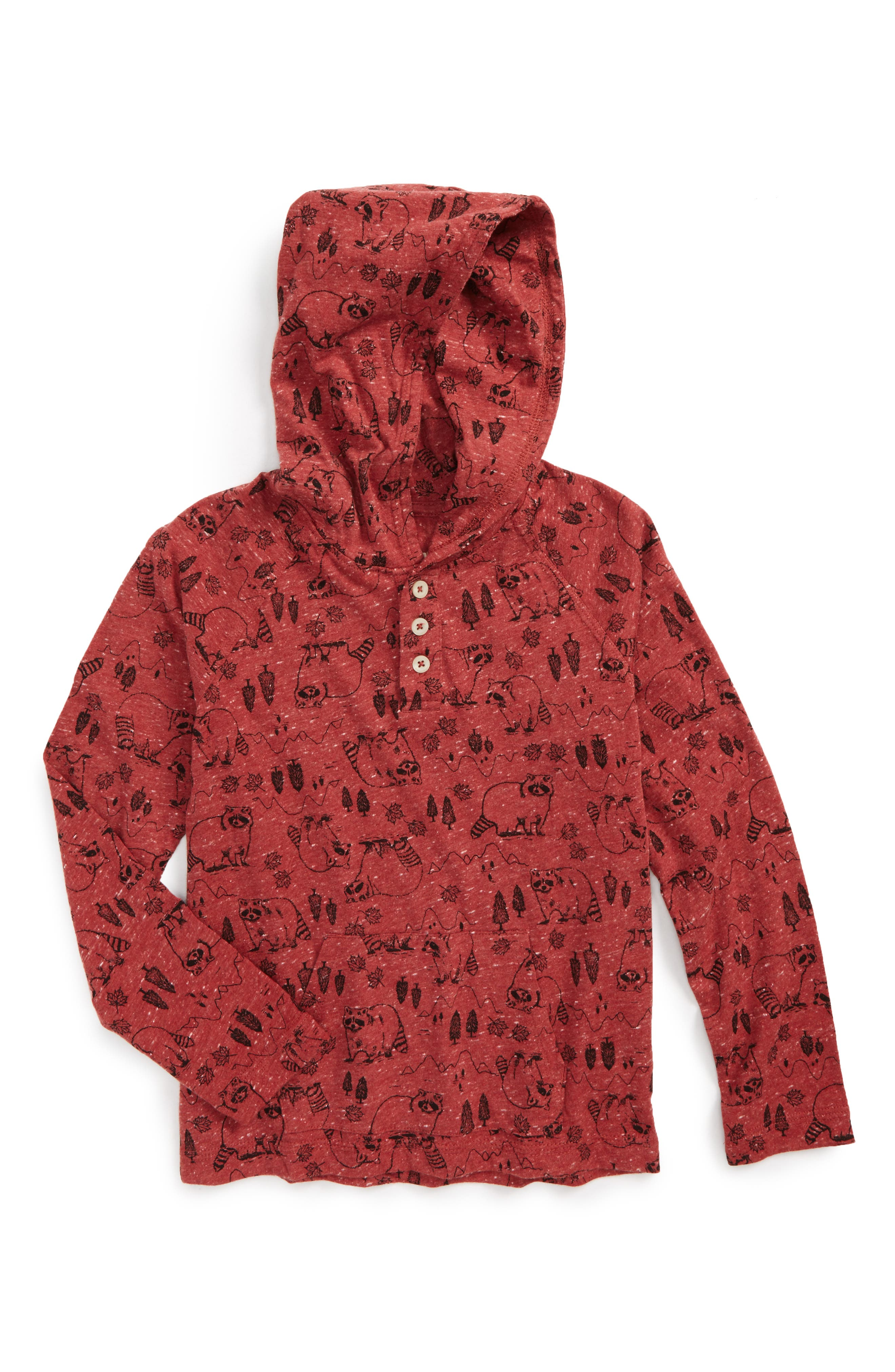 Woodland Print Henley Hoodie,                         Main,                         color, Red Chili Woodland