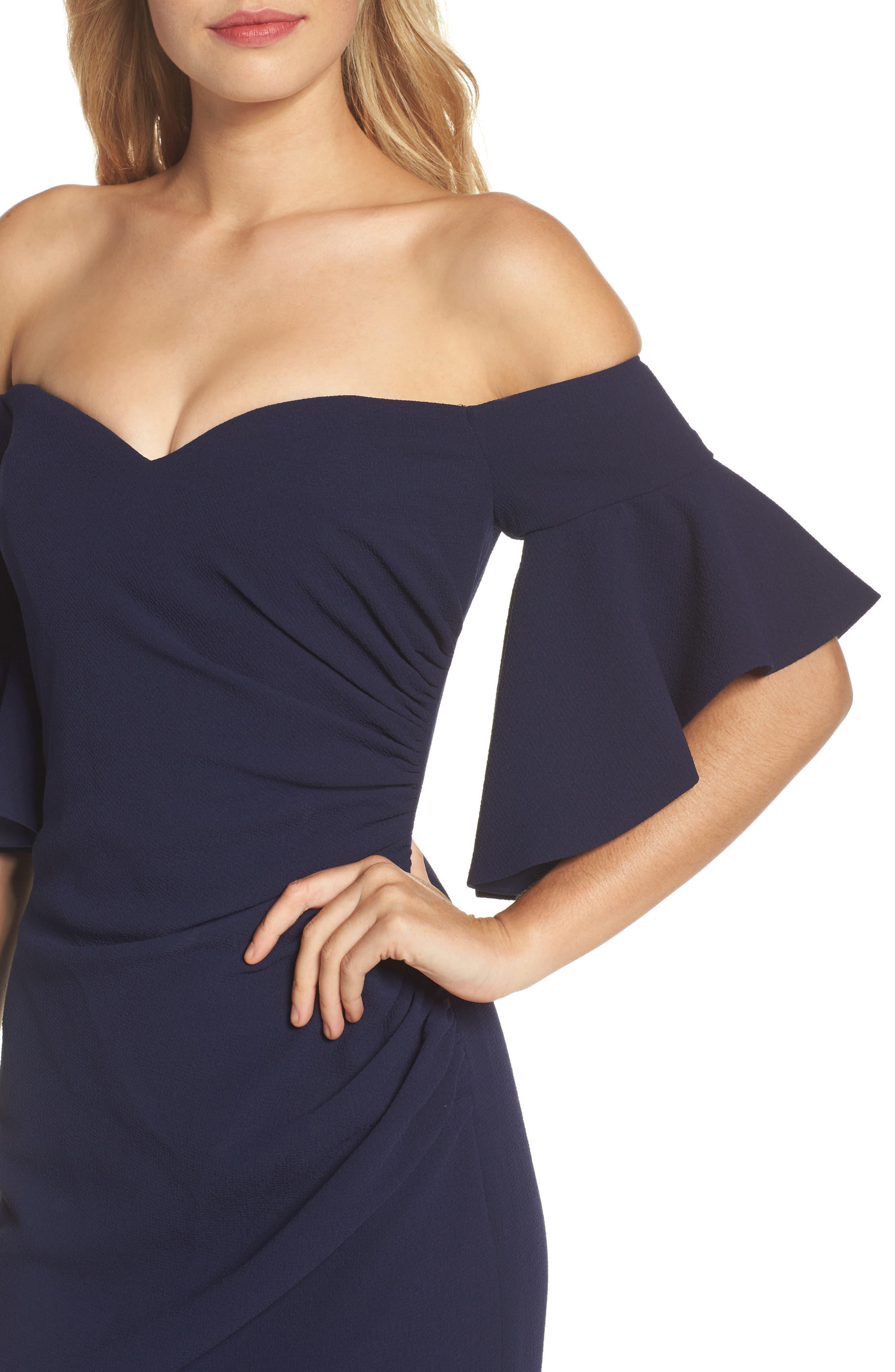 Pebble Crepe Off the Shoulder Gown,                             Alternate thumbnail 4, color,                             Navy