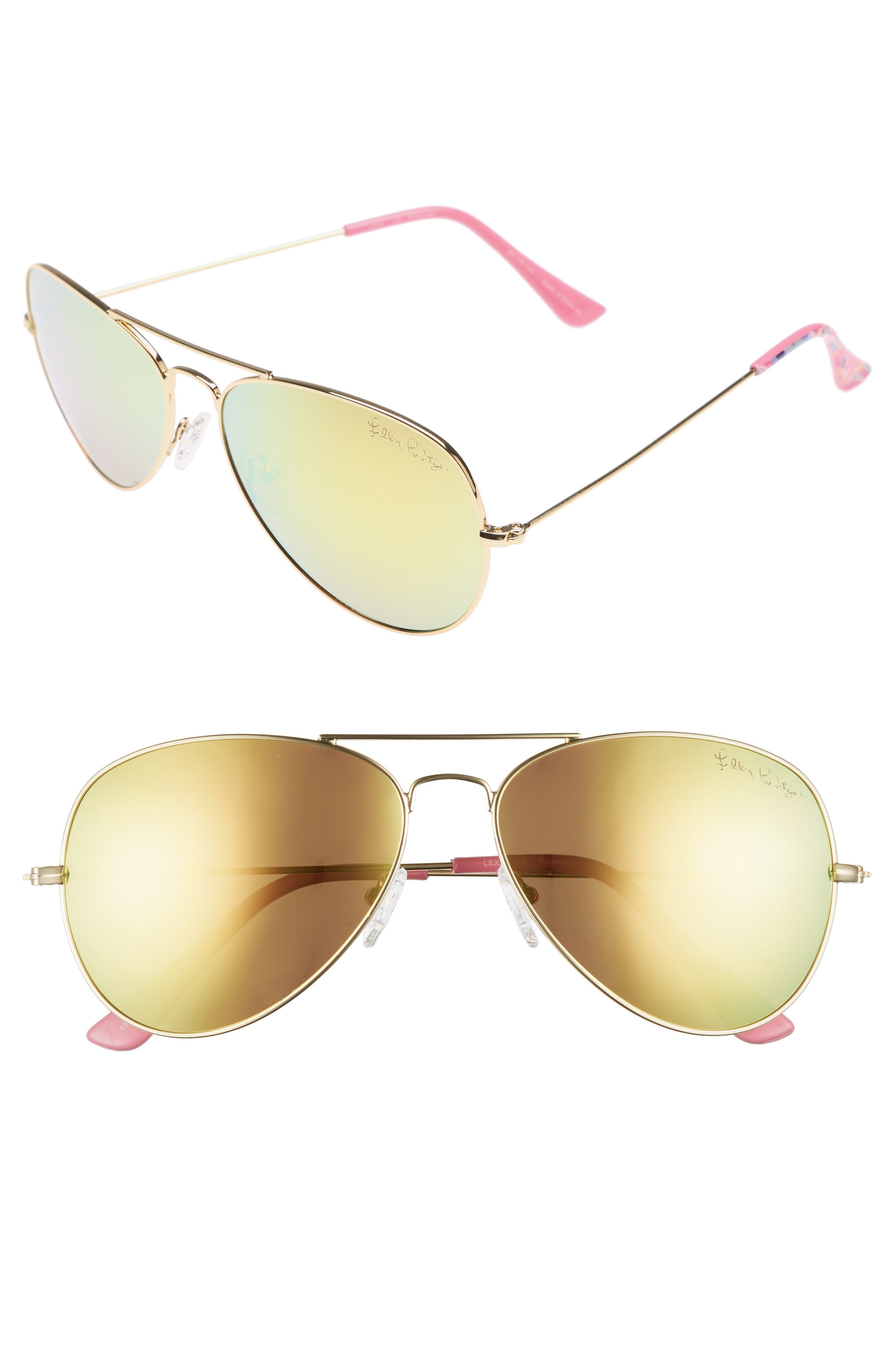 Lexy 59mm Polarized Aviator Sunglasses,                         Main,                         color, Pink