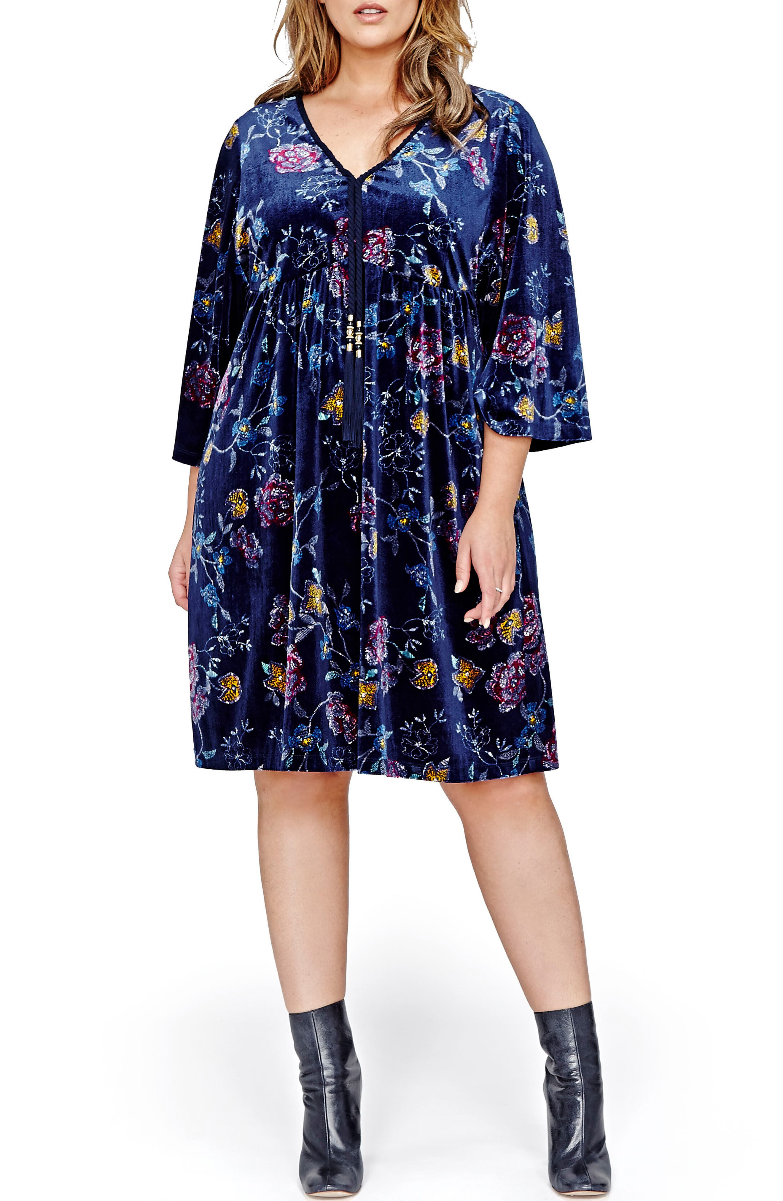 ADDITION ELLE LOVE AND LEGEND Floral Velvet Kimono Dress (Plus Size)