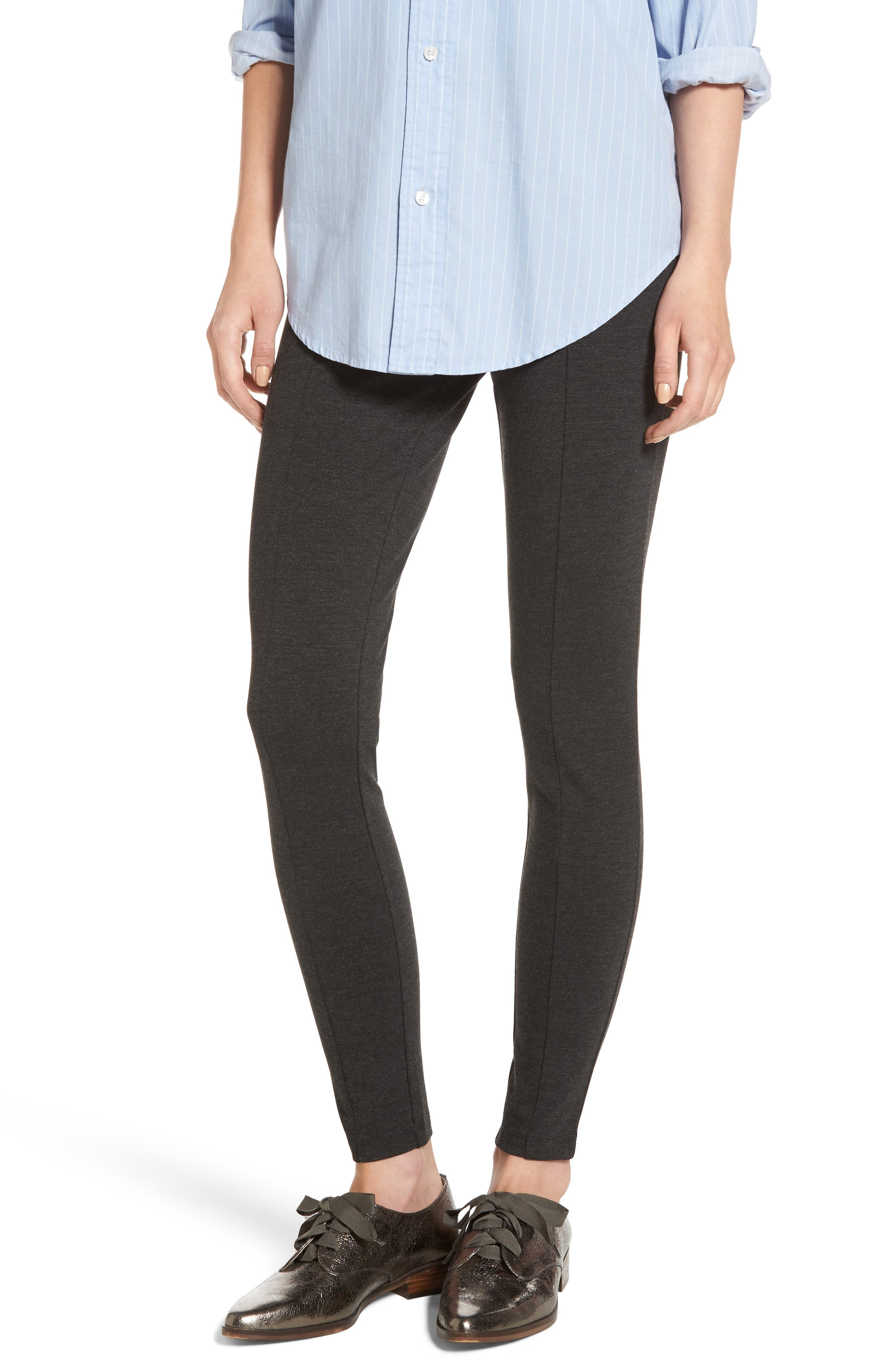 Seamed Ponte Knit Leggings,                         Main,                         color, Charcoal Grey