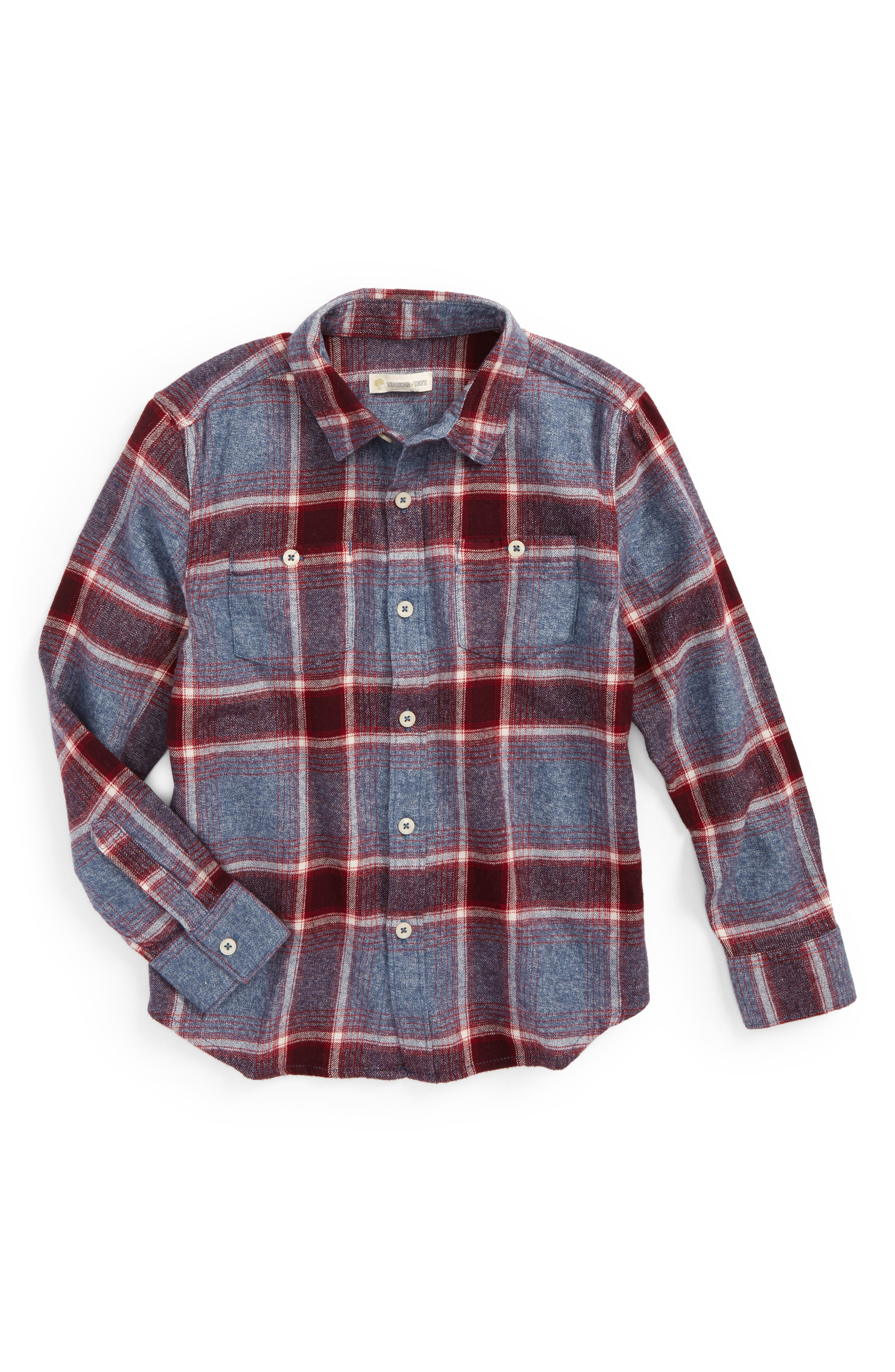 Tucker + Tate Plaid Flannel Shirt (Toddler Boys & Little Boys)