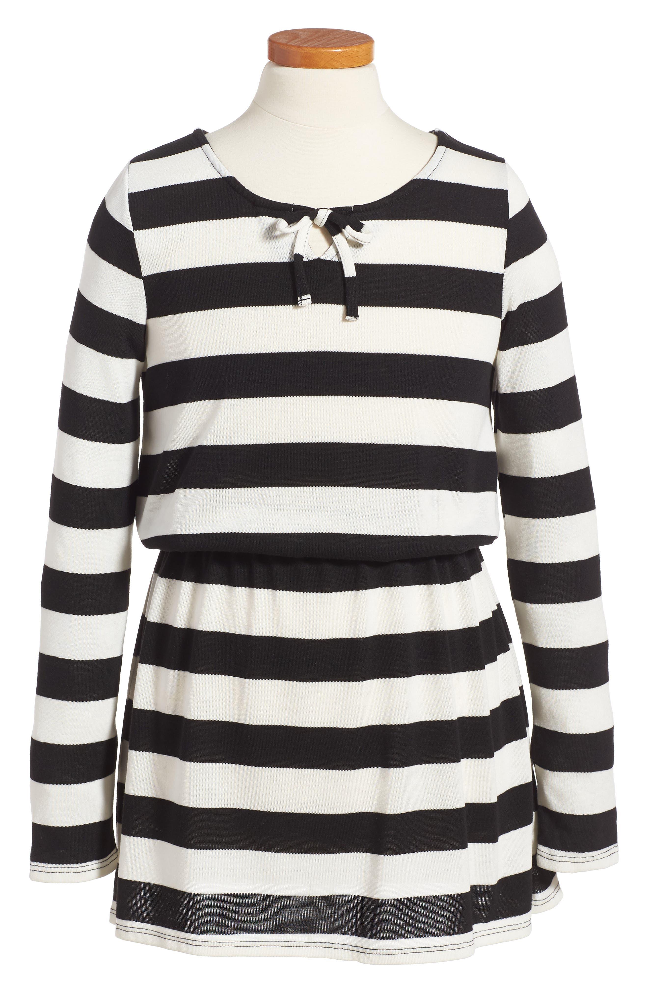 Stripe Dress,                             Main thumbnail 1, color,                             Stripe Black