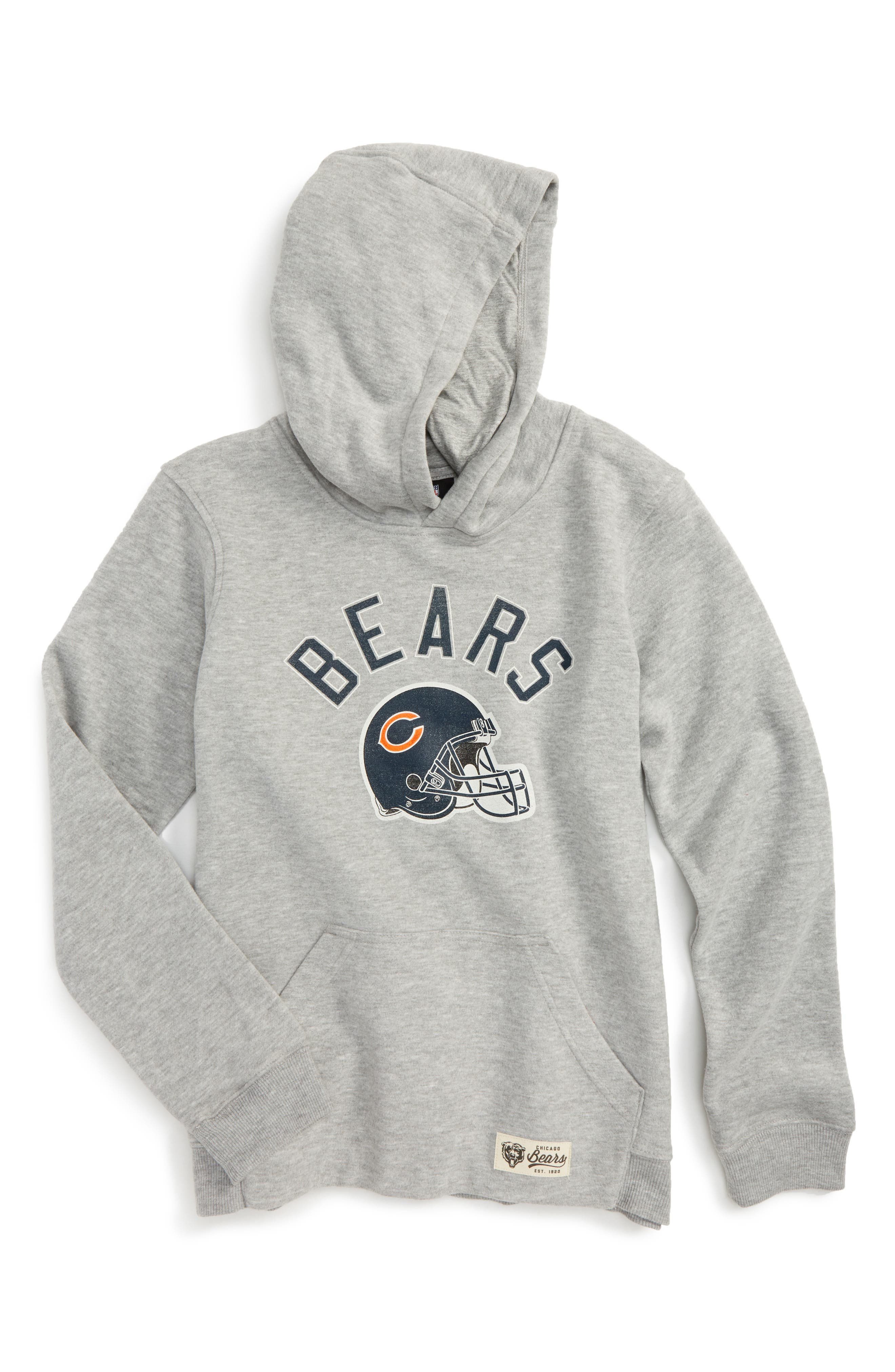 NFL Chicago Bears Pullover Hoodie,                             Main thumbnail 1, color,                             Heather Grey