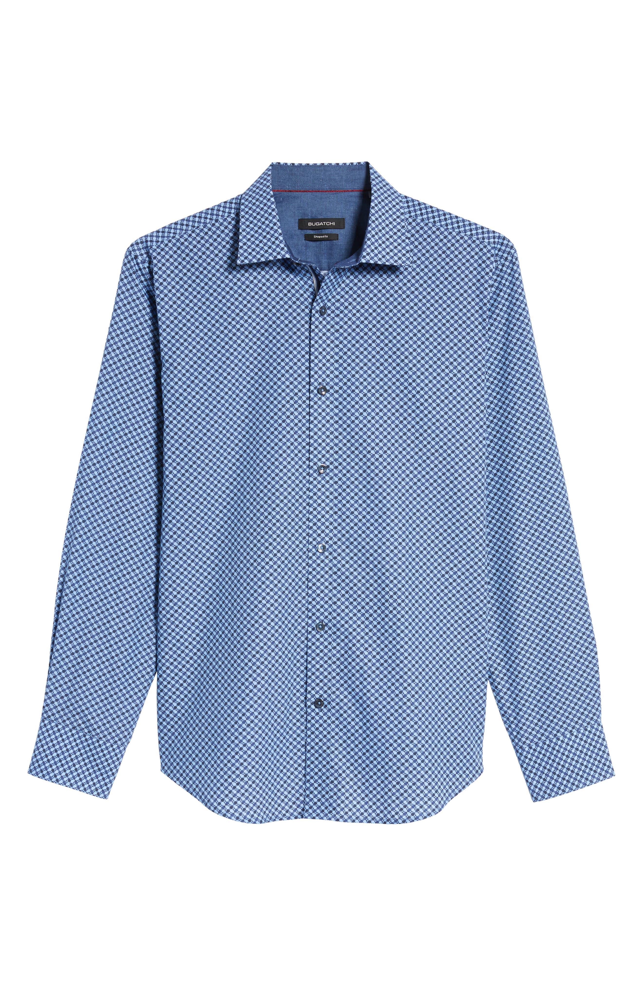 Trim Fit Dot Print Sport Shirt,                             Alternate thumbnail 6, color,                             Classic Blue
