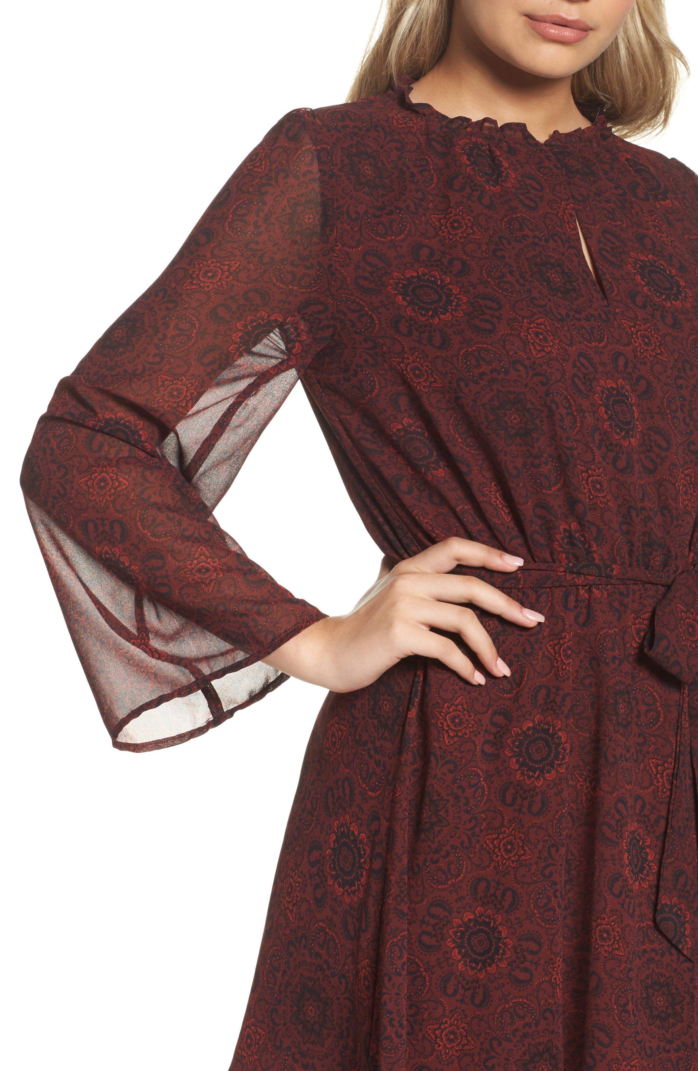 Branton Fit & Flare Dress,                             Alternate thumbnail 4, color,                             Bordeaux